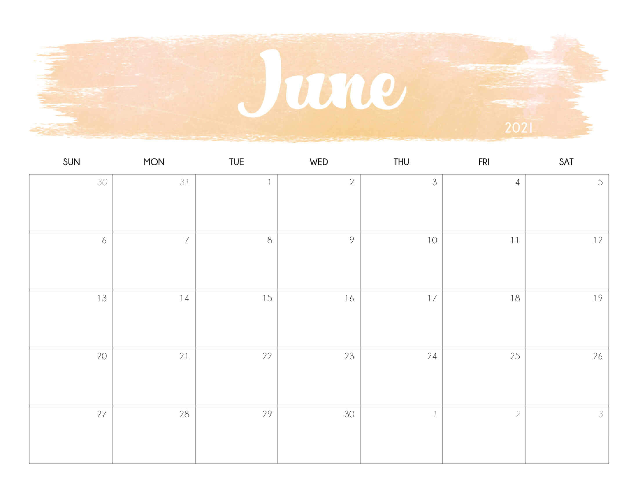 Cute June 2021 Calendar Printable