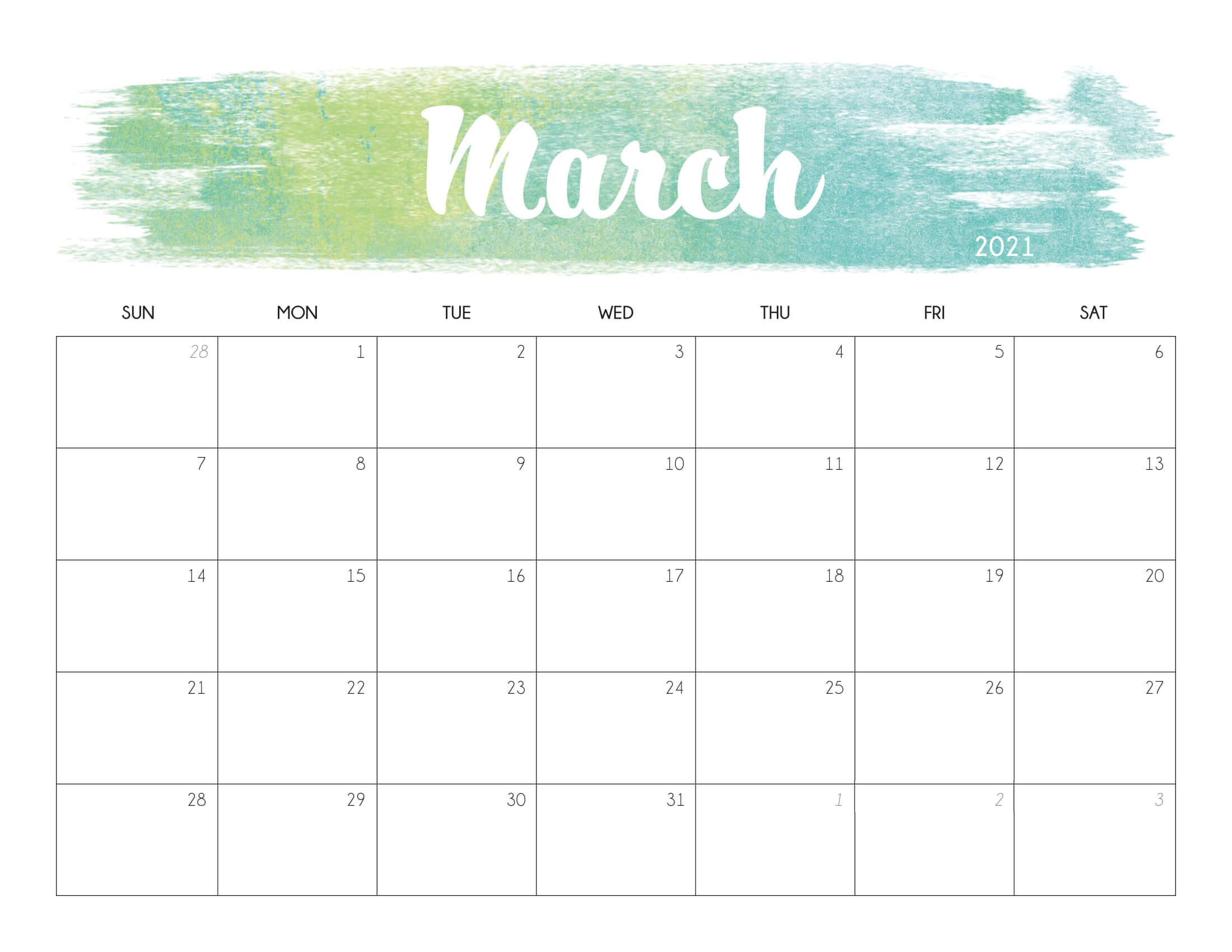 Floral March 2021 Calendar Printable - Time Management ...