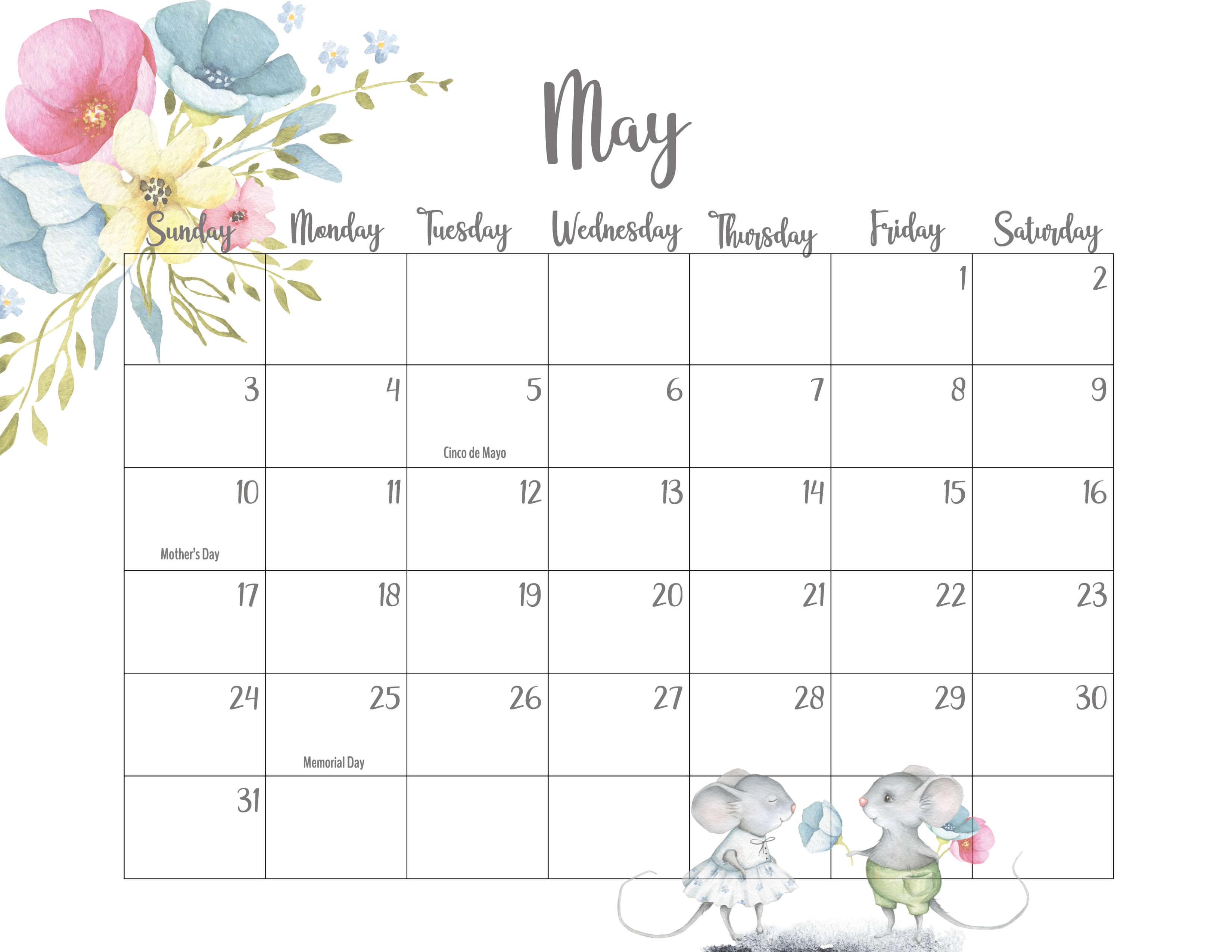 Cute May 2020 Calendar Template