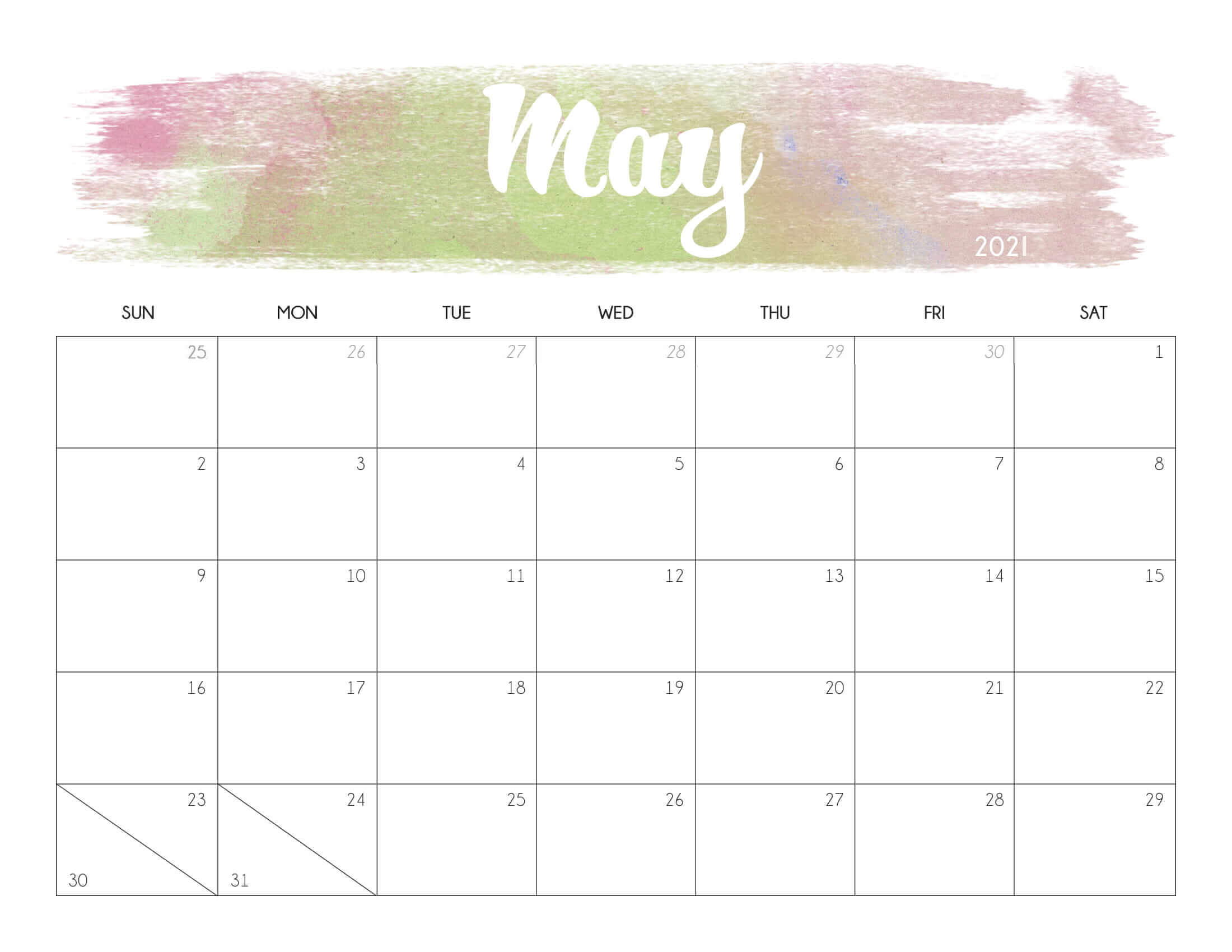 Floral May 2021 Calendar Printable - Time Management Tools ...