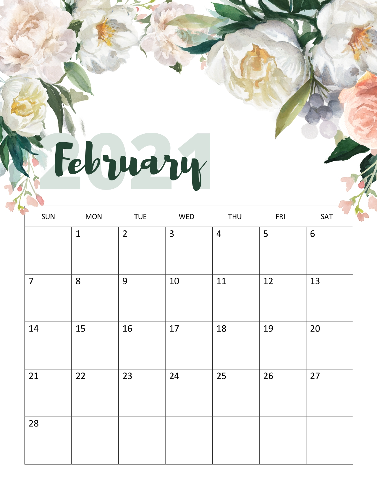 Floral February 2021 Calendar Printable - Time Management ...