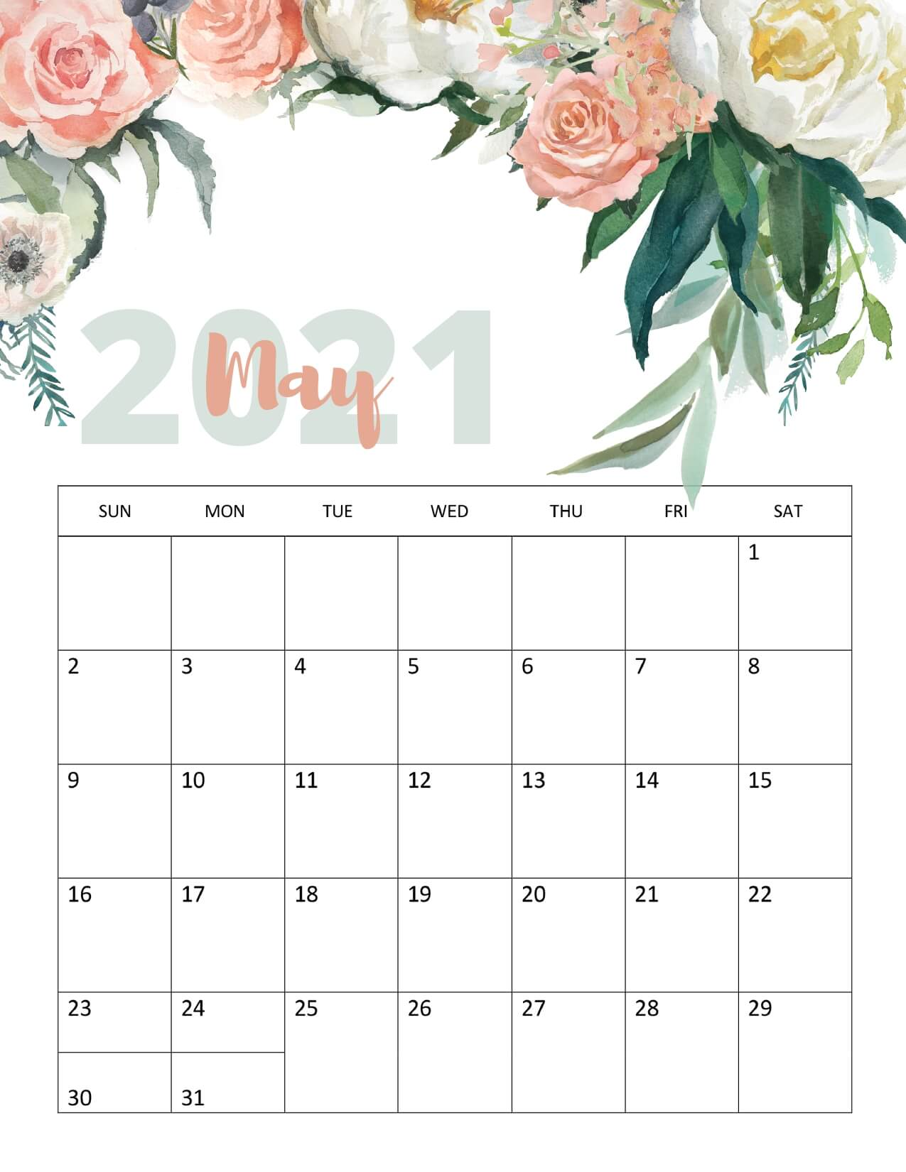 Floral May 2021 Calendar