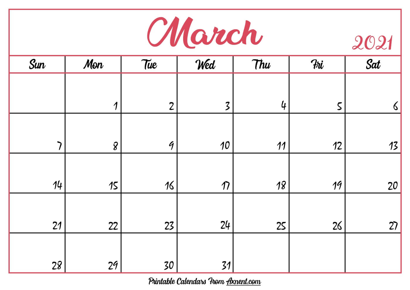 Printable March 2021 Calendar Template - Time Management ...
