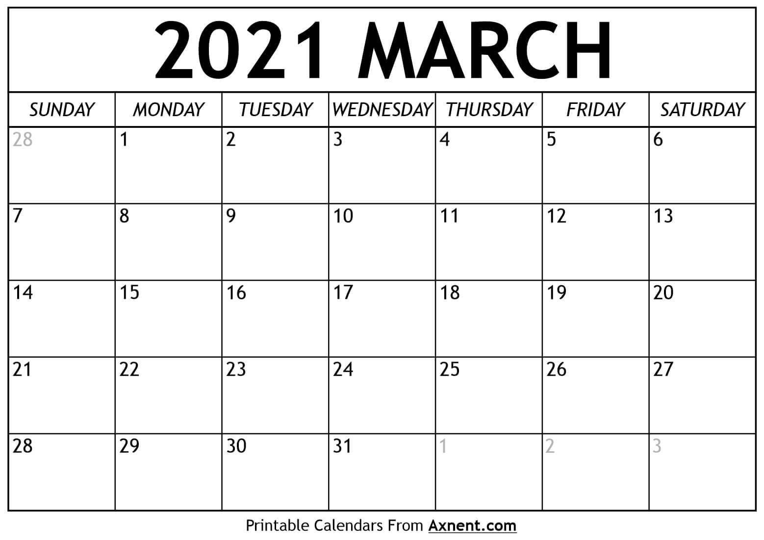 Printable March 2021 Calendar Template   Time Management Tools