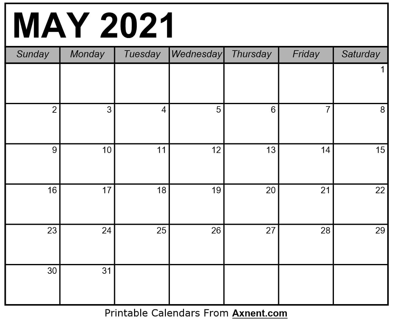 Printable May 2021 Calendar Template - Time Management ...