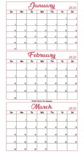 January To March 2021 Calendar Template