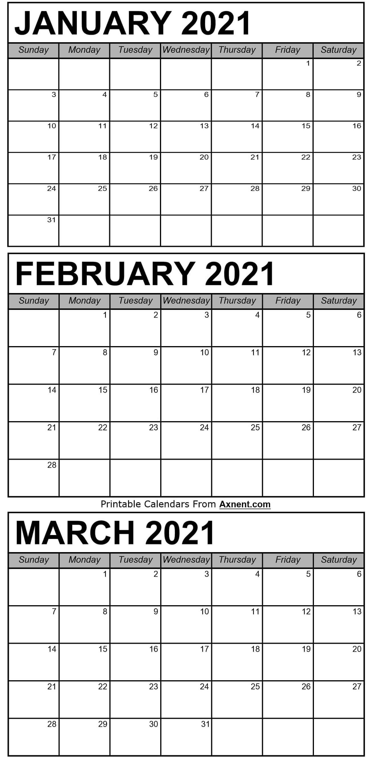 January To March 2021 Calendar