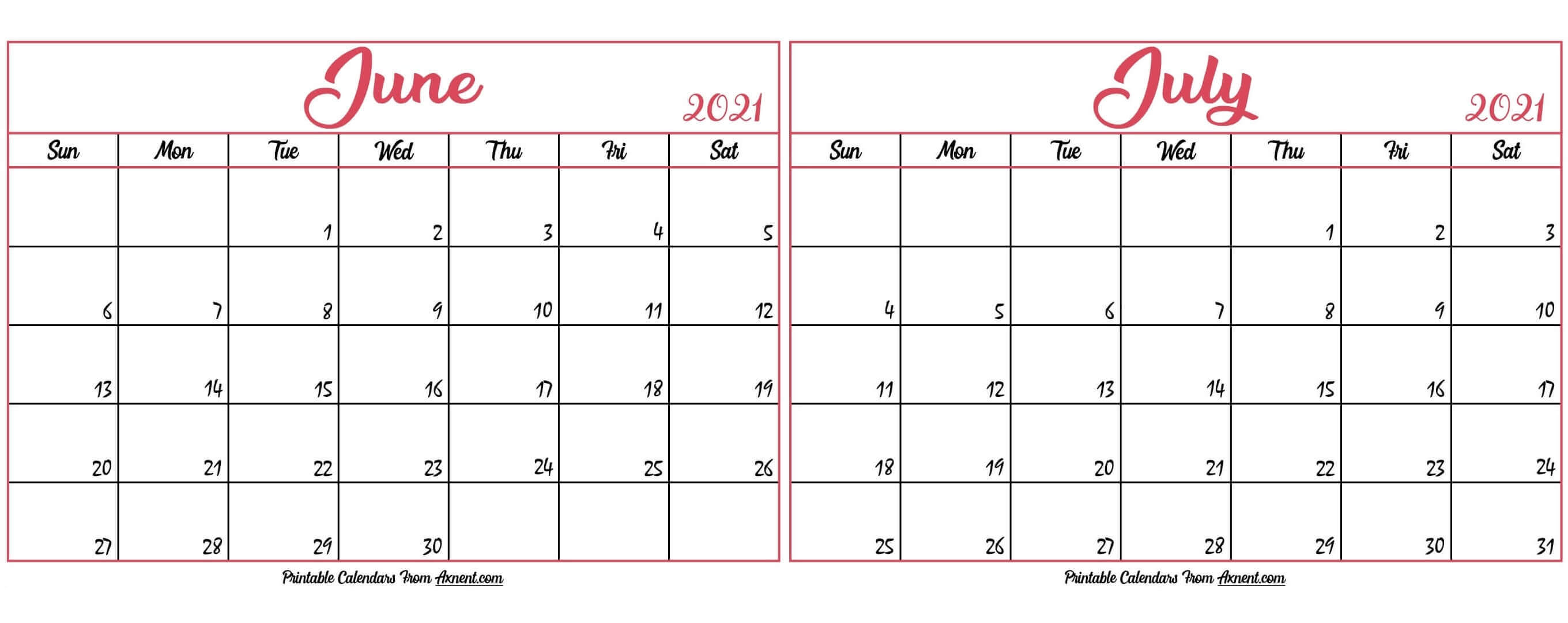 June July Calendar 2021 Template