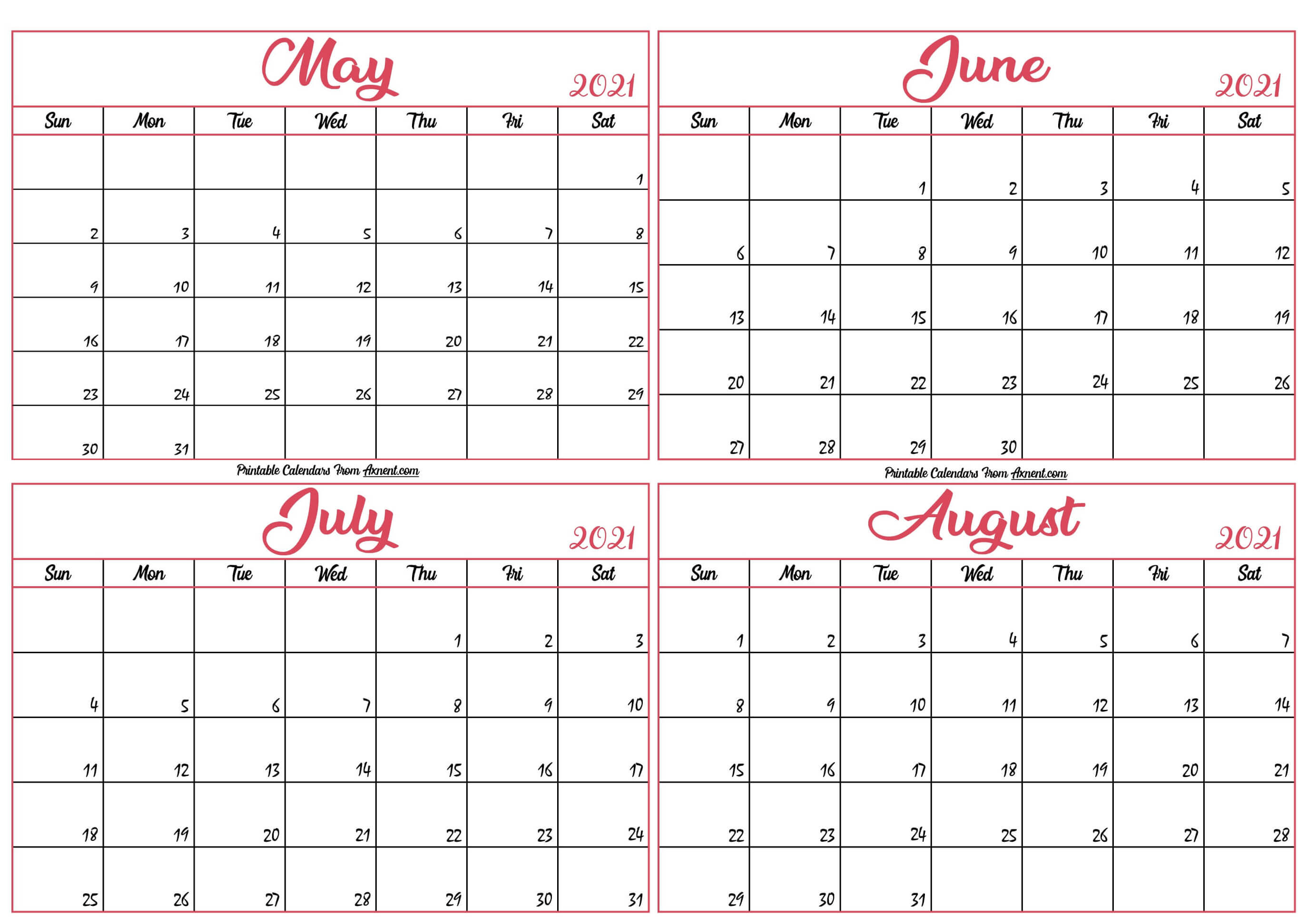 May To August 2021 Calendar Template