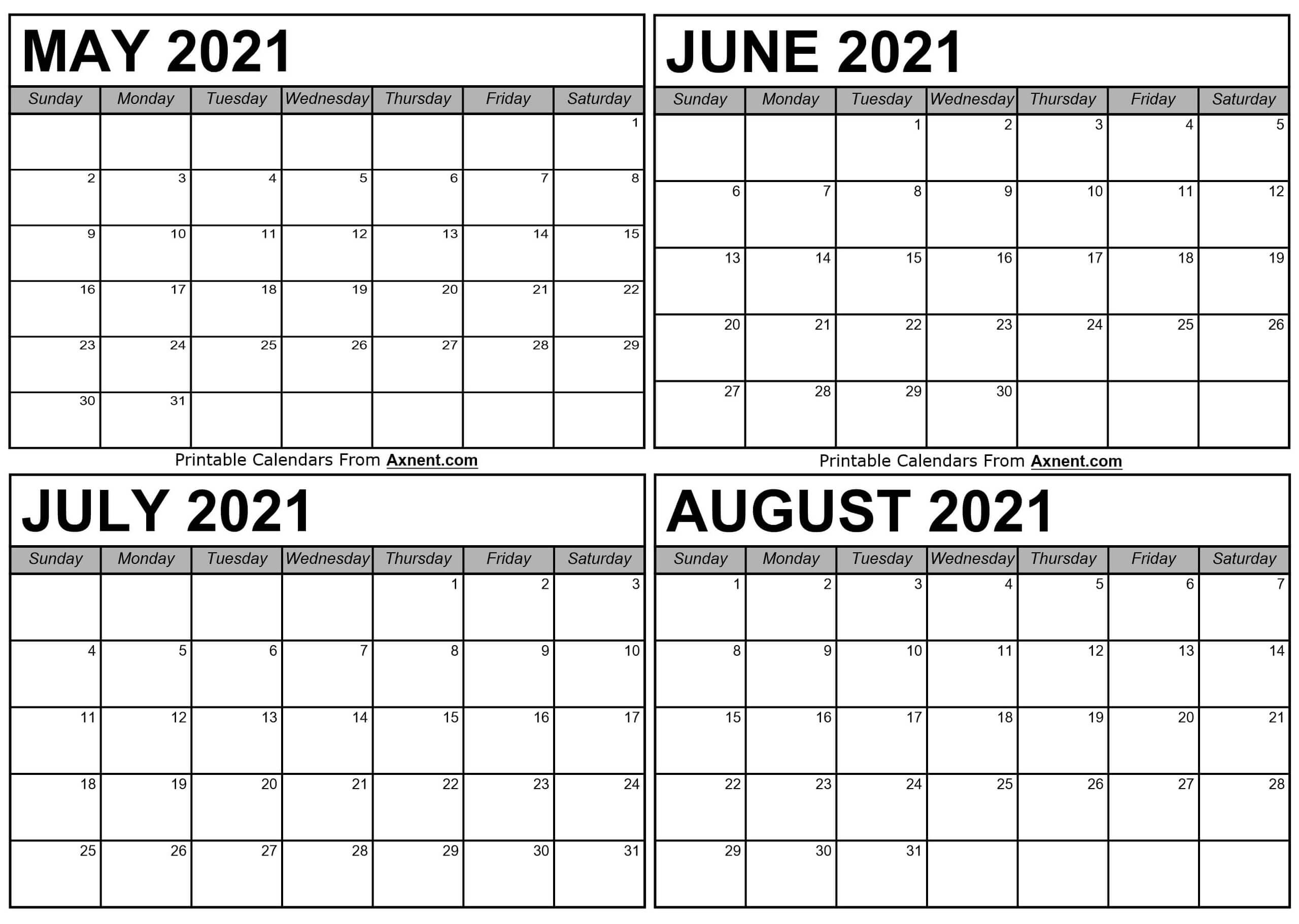 May To August 2021 Calendar