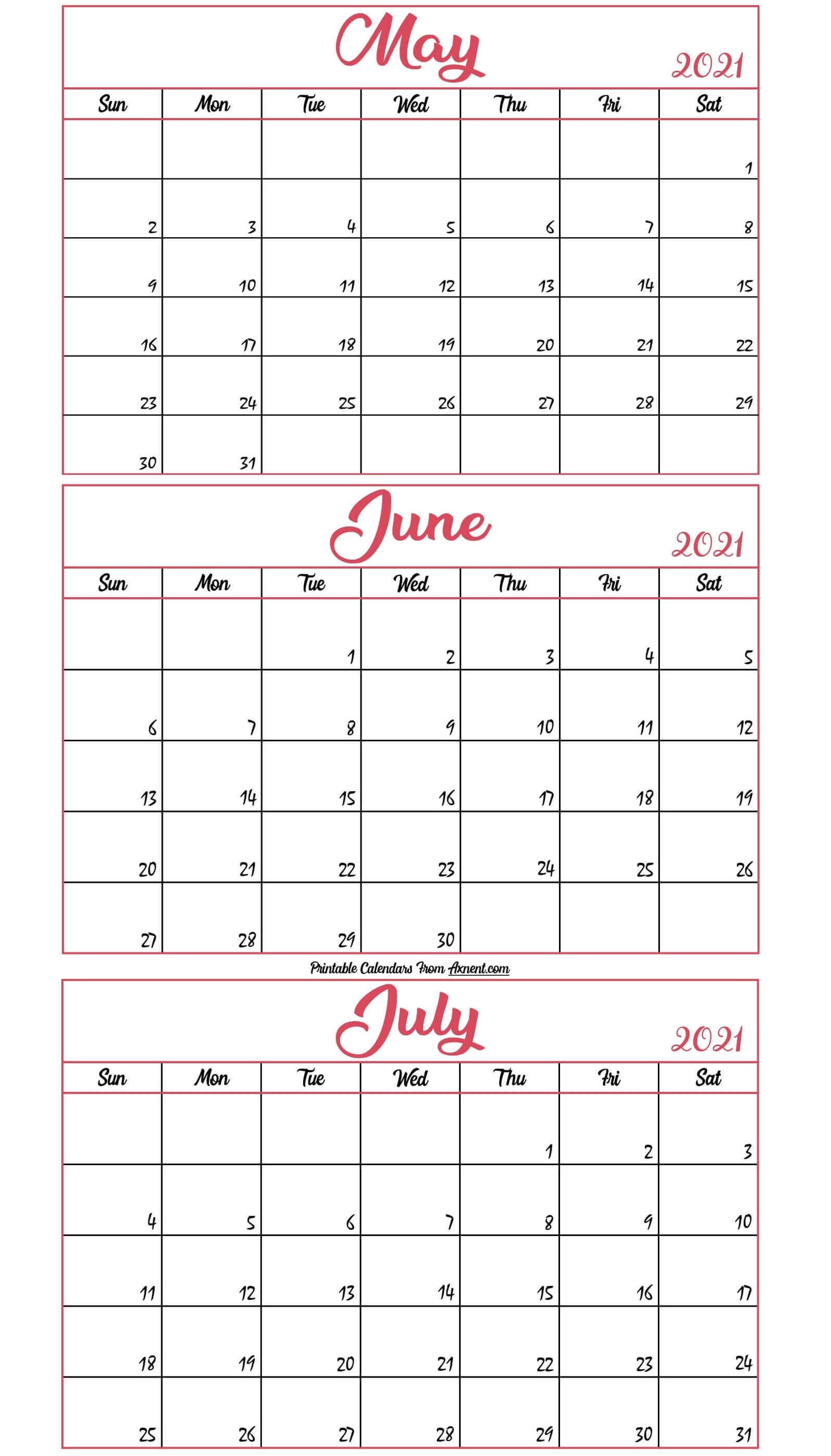 May To July 2021 Calendar Template