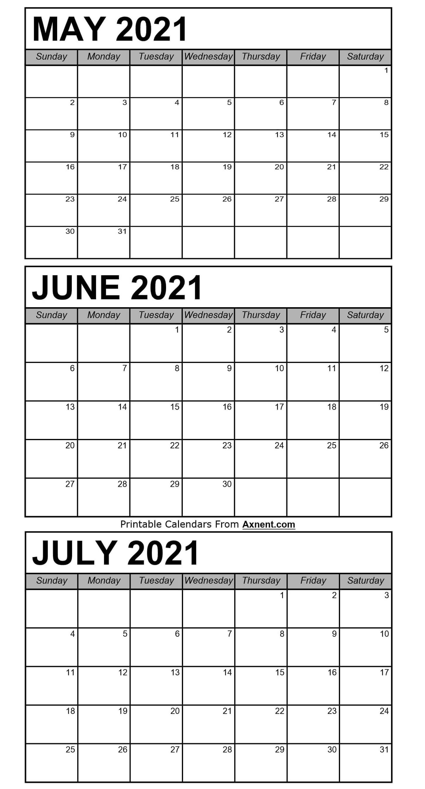 May To July 2021 Calendar