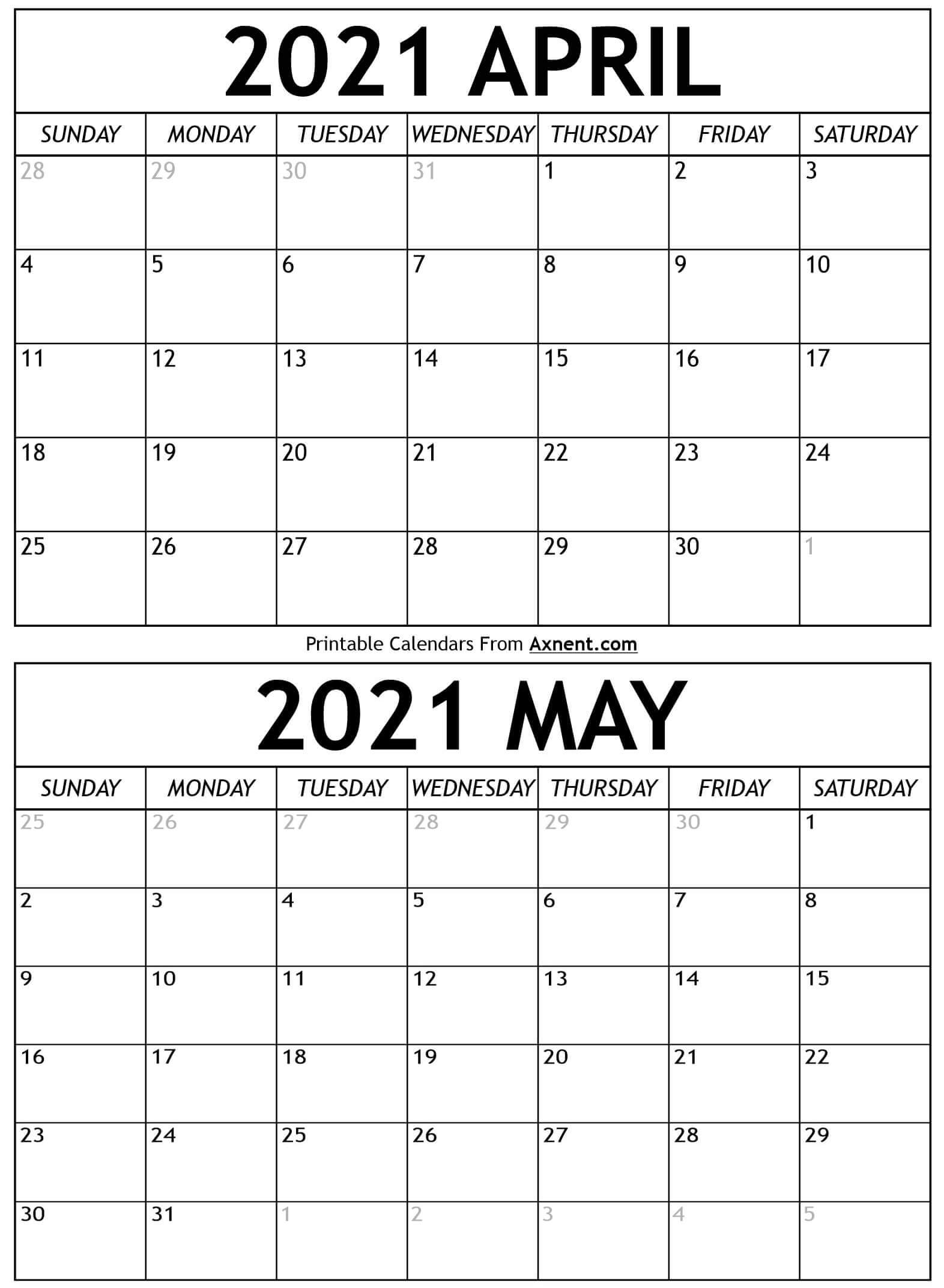 April To May 2021 Calendar Pictures
