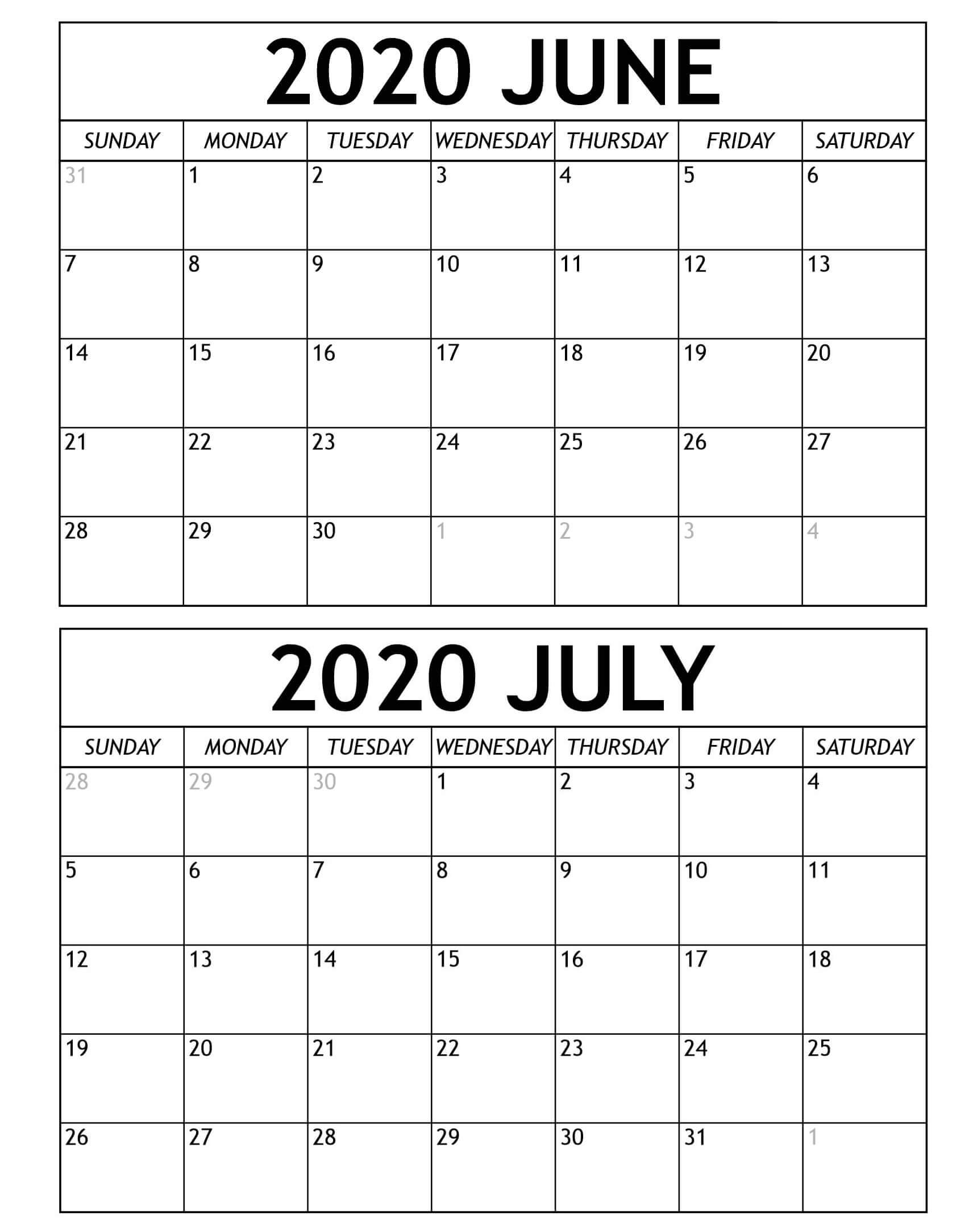 June July 2020 Calendar Templates - Time Management Tools June ...
