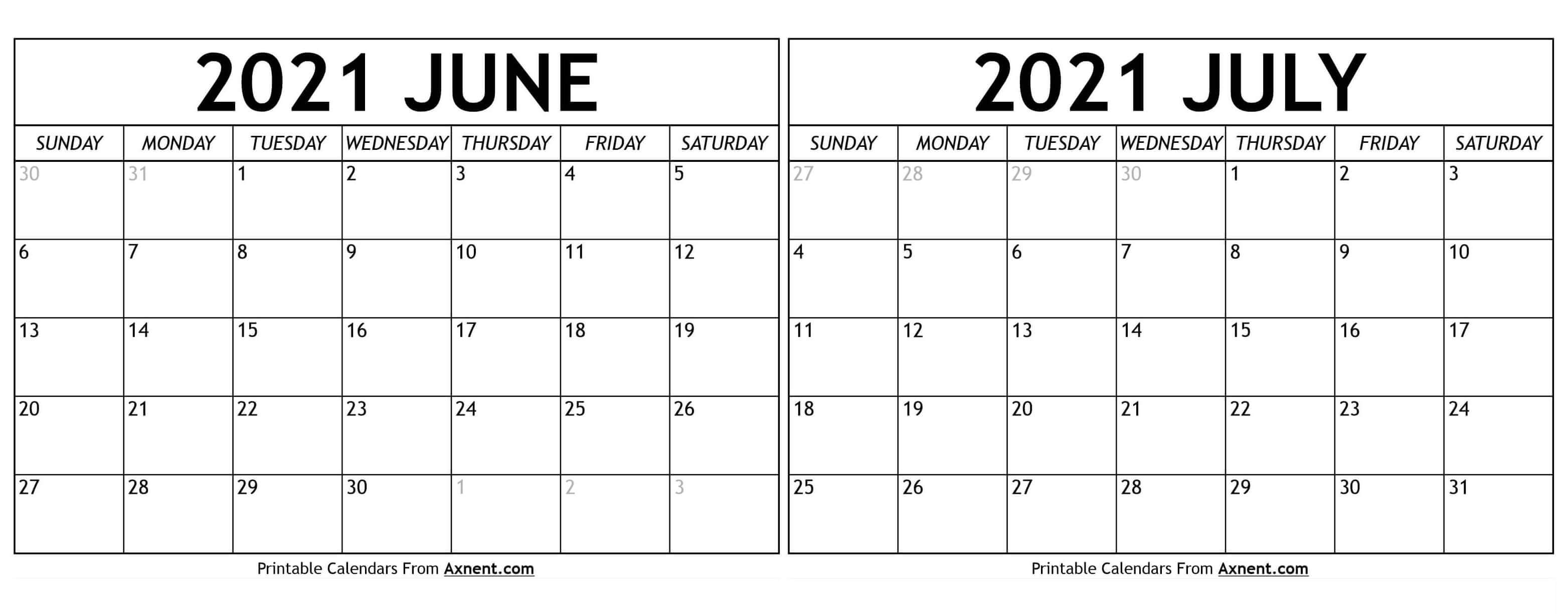 Printable June July 2021 Calendar