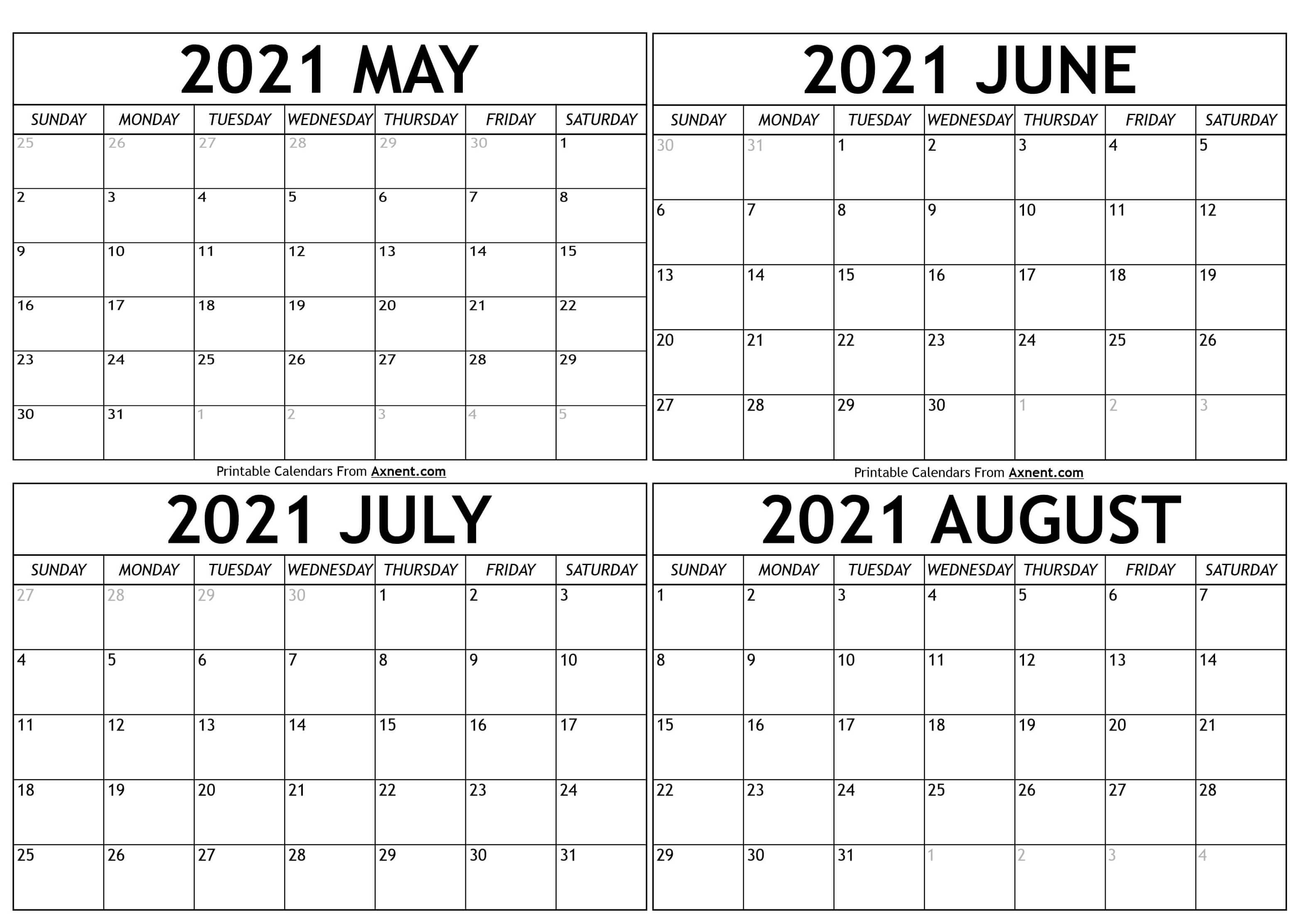 Printable May To August 2021 Calendar