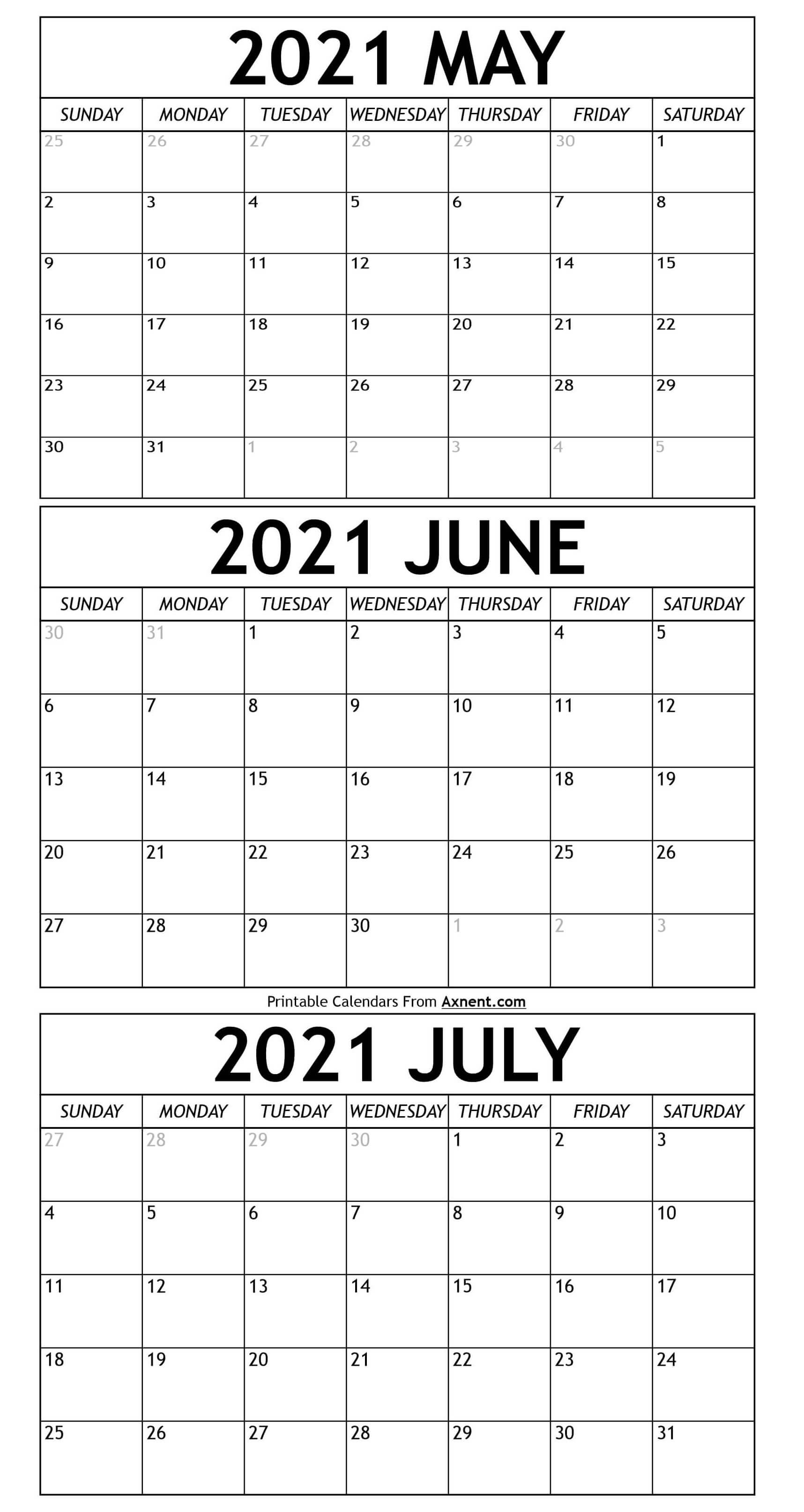 Printable May To July 2021 Calendar