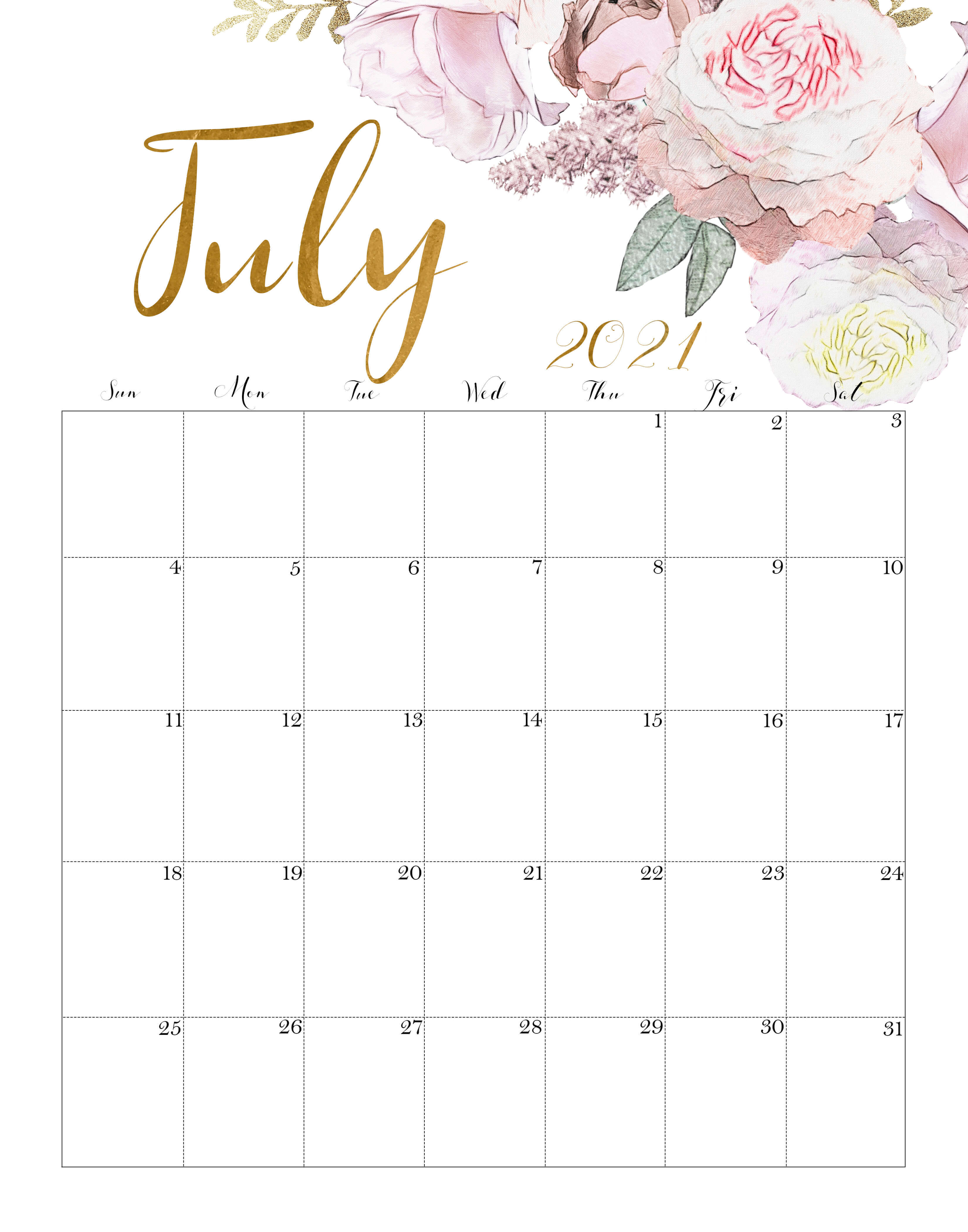 Floral July 2021 Calendar Printable - Time Management ...