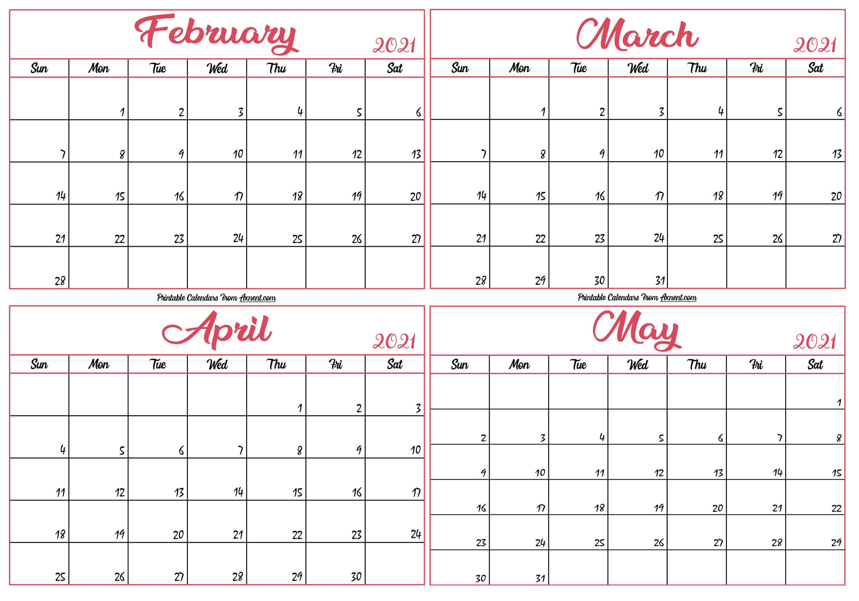 February To May 2021 Calendar Template
