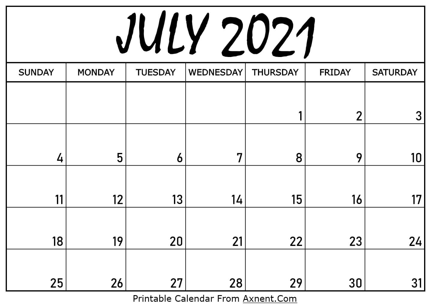 Printable July 2021 Calendar Template - Time Management ...