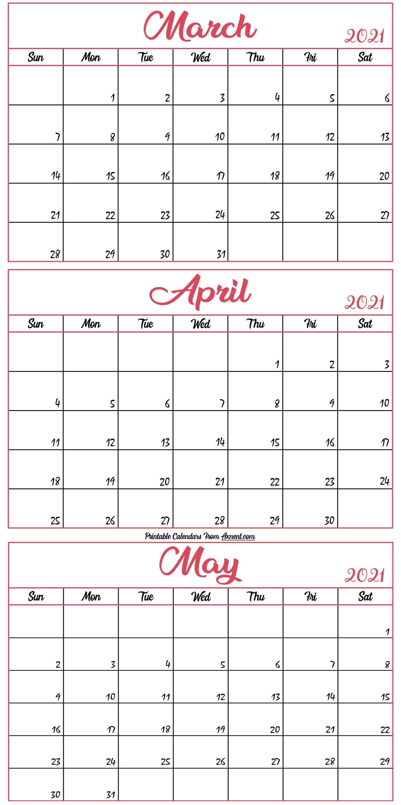 March To May 2021 Calendar Template