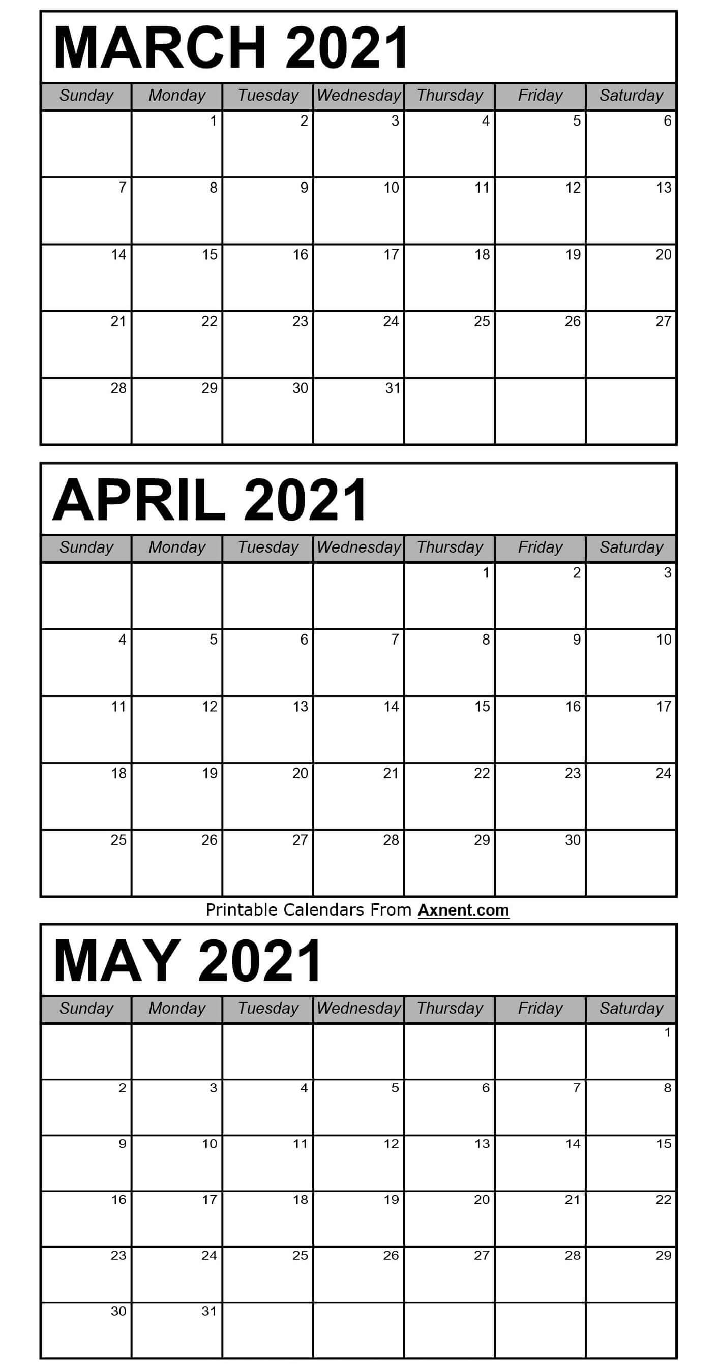 March To May 2021 Calendar