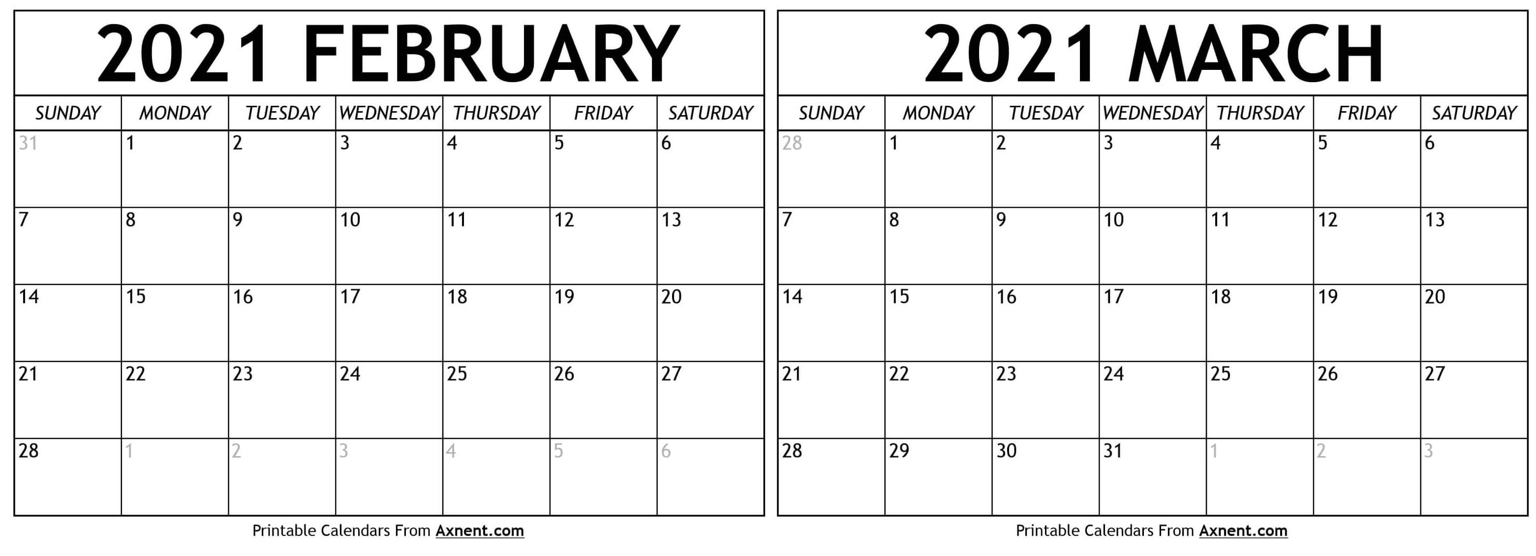 February March 2021 Calendar Templates   Time Management Tools