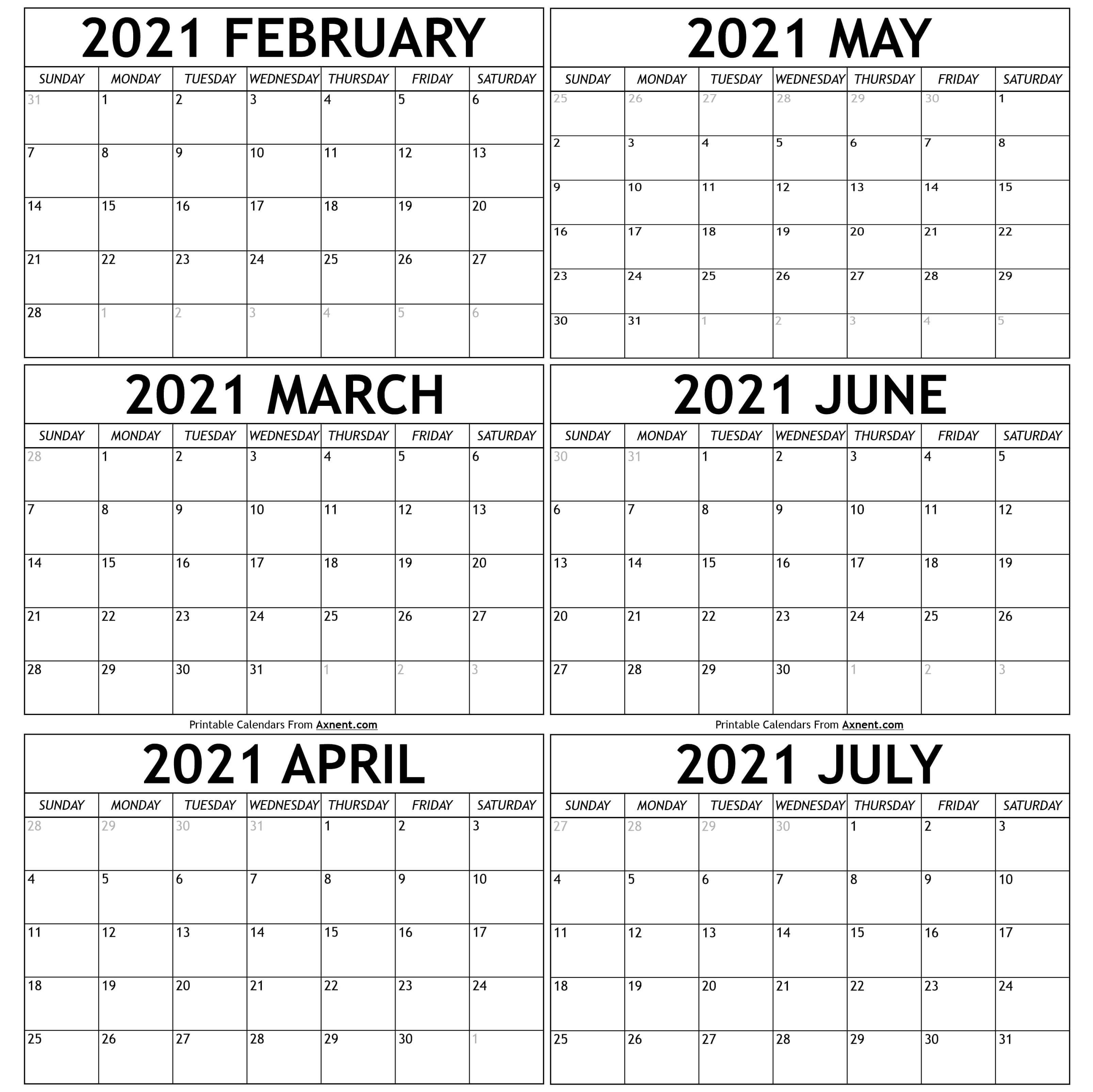 February To July 2021 Calendar Templates   Time Management Tools