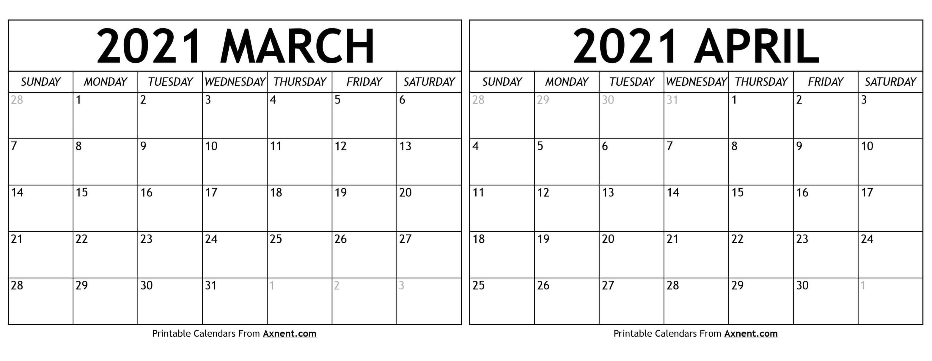 March And April Calendar 2021 March April 2021 Calendar Templates   Time Management Tools March