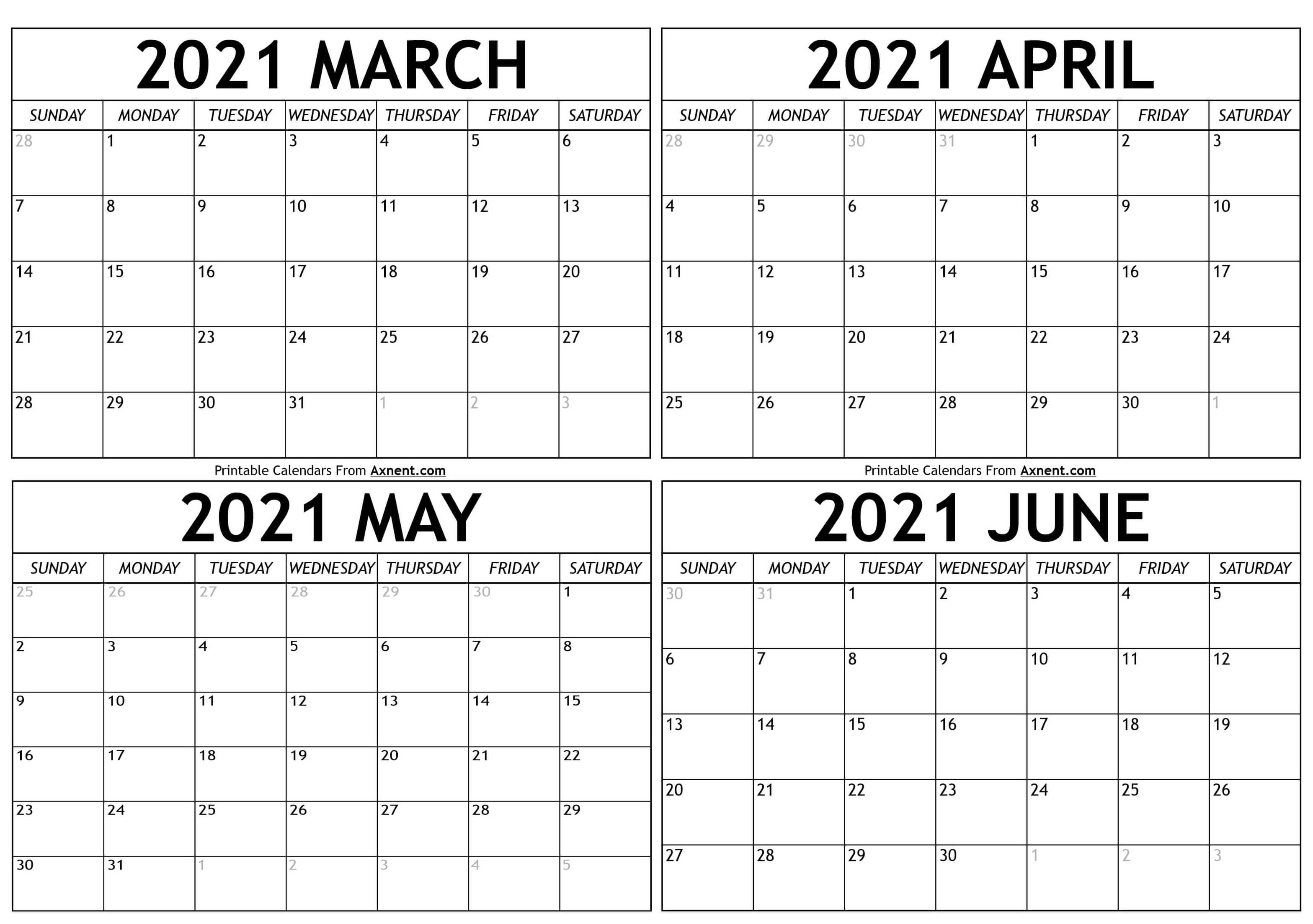 Calendar Of May And June 2021 March To June 2021 Calendar Templates   Time Management Tools
