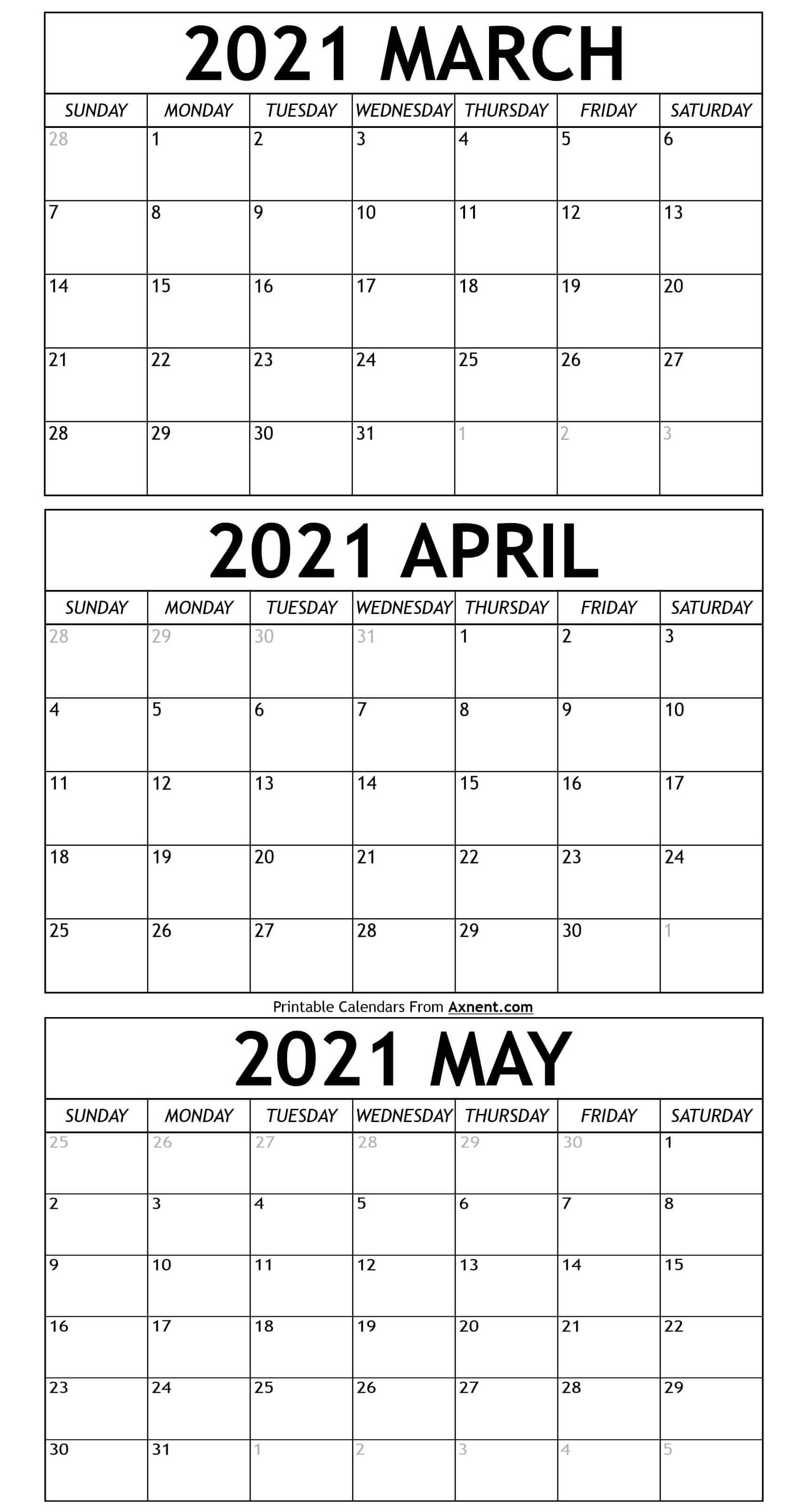 March To May Calendar 2021 Templates   Time Management Tools March