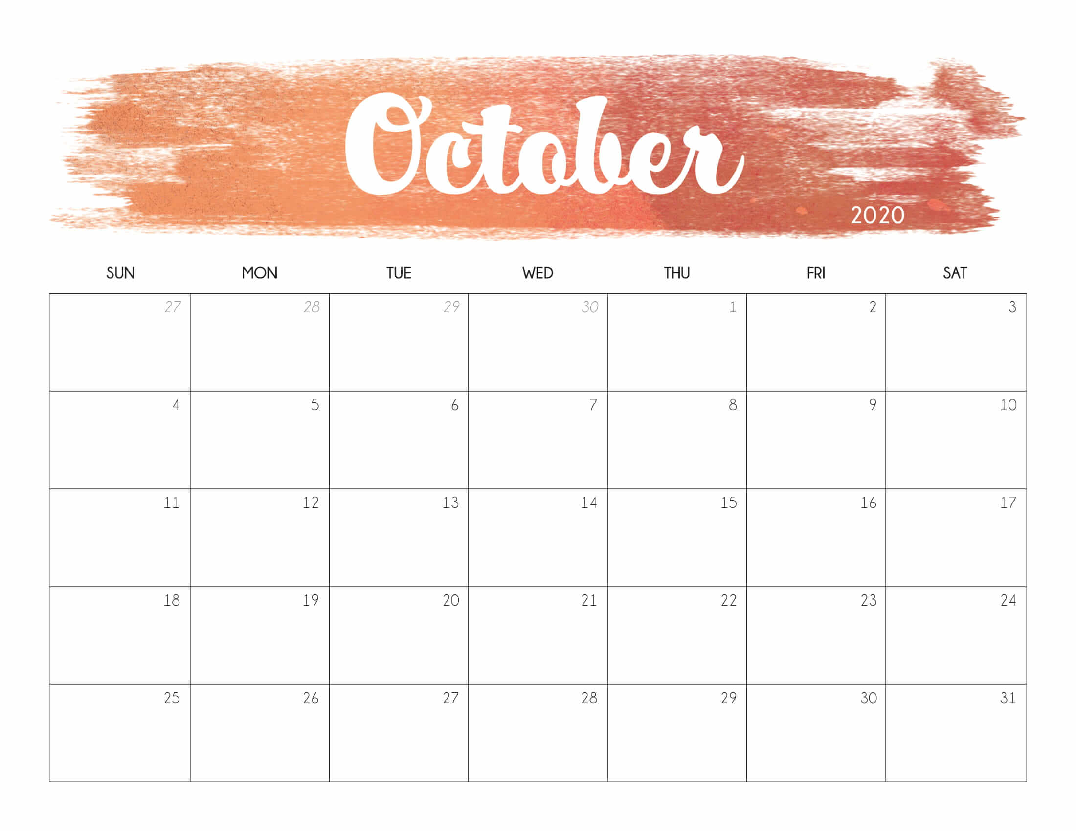 Cute October 2020 Calendar Printable