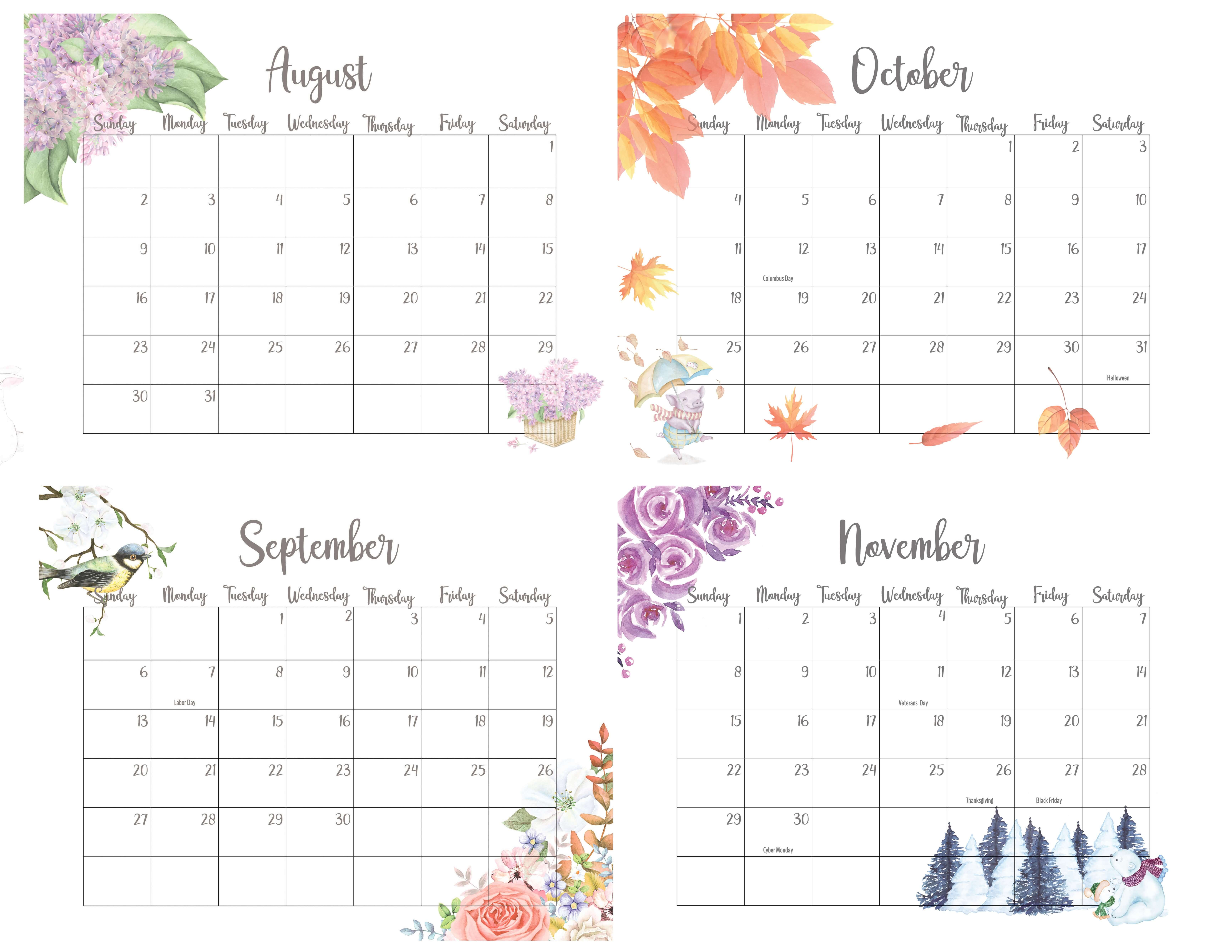 2020 August To November Calendar With Holidays
