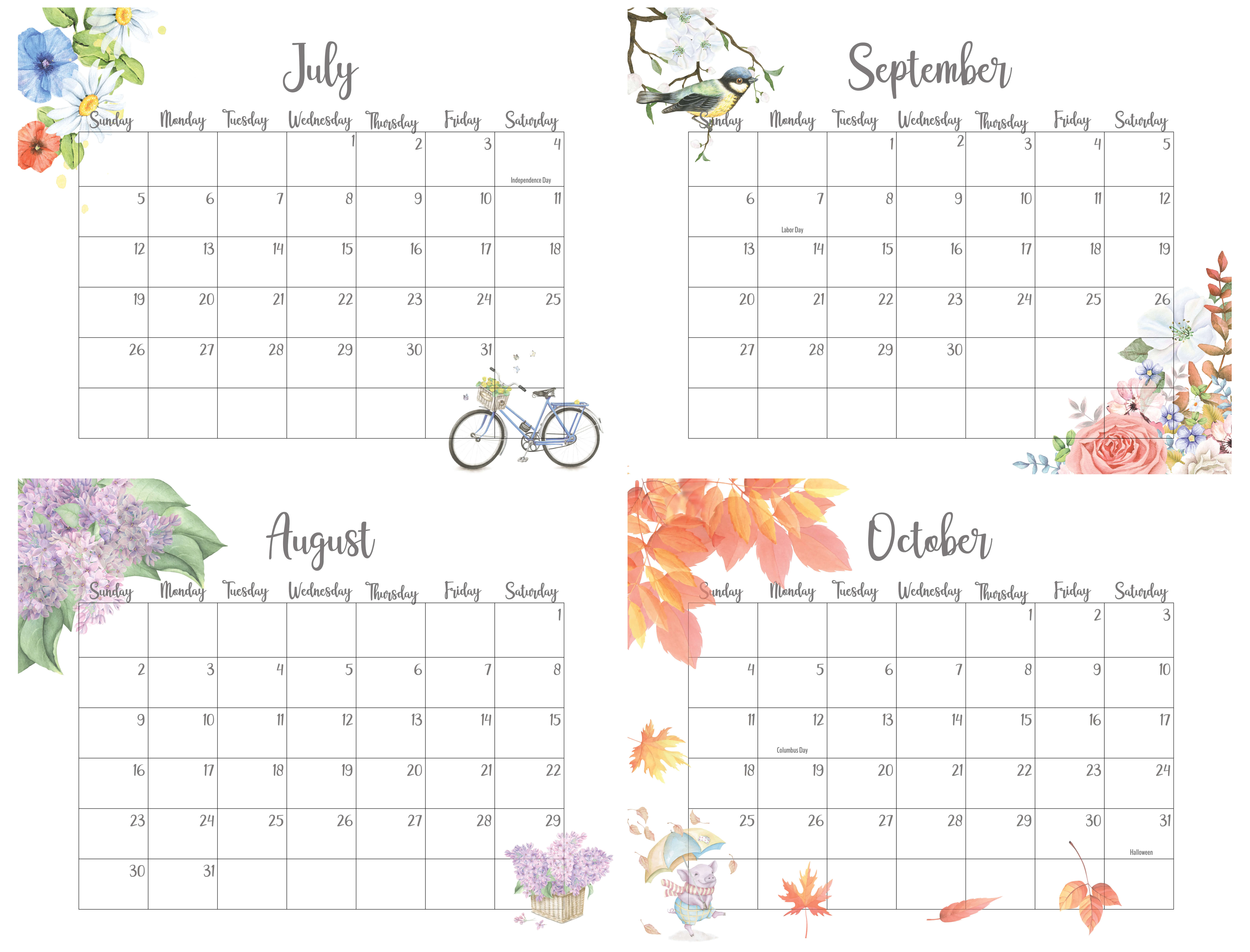 2020 July To October Calendar With Holidays