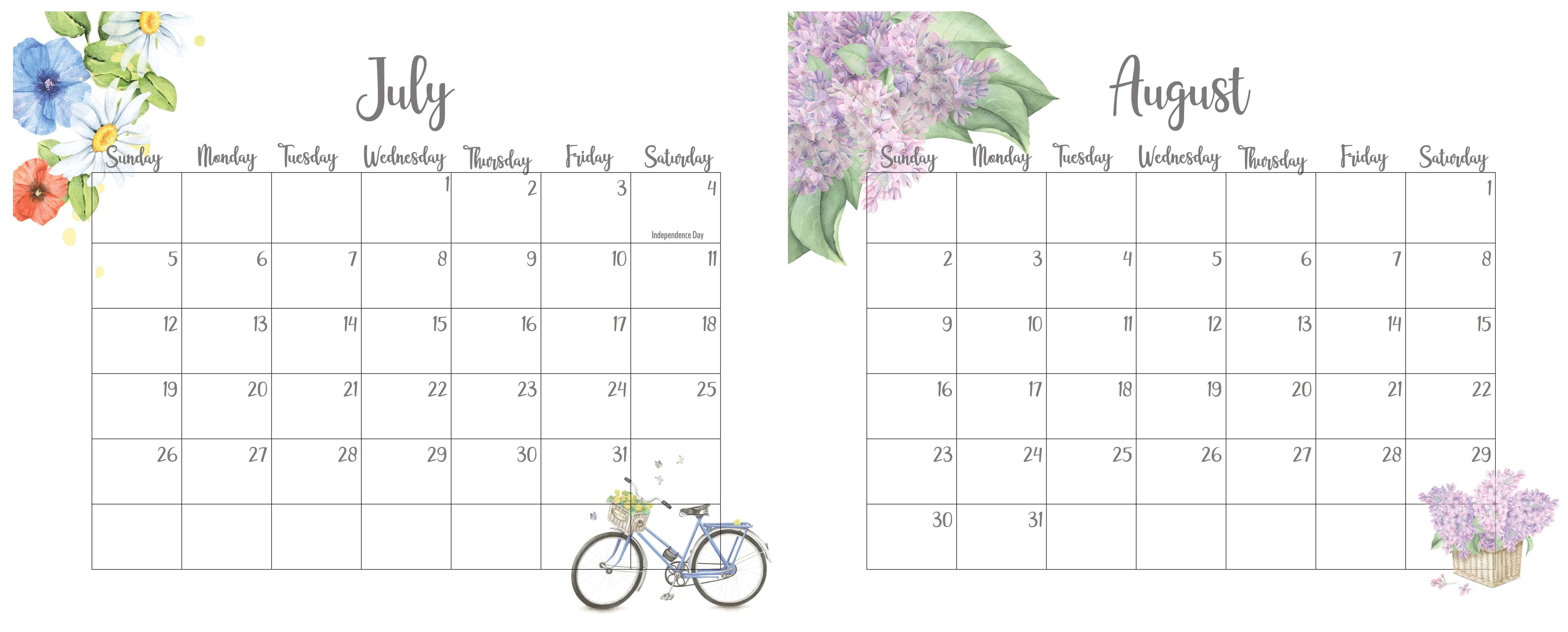 July August 2020 Calendar With Holidays