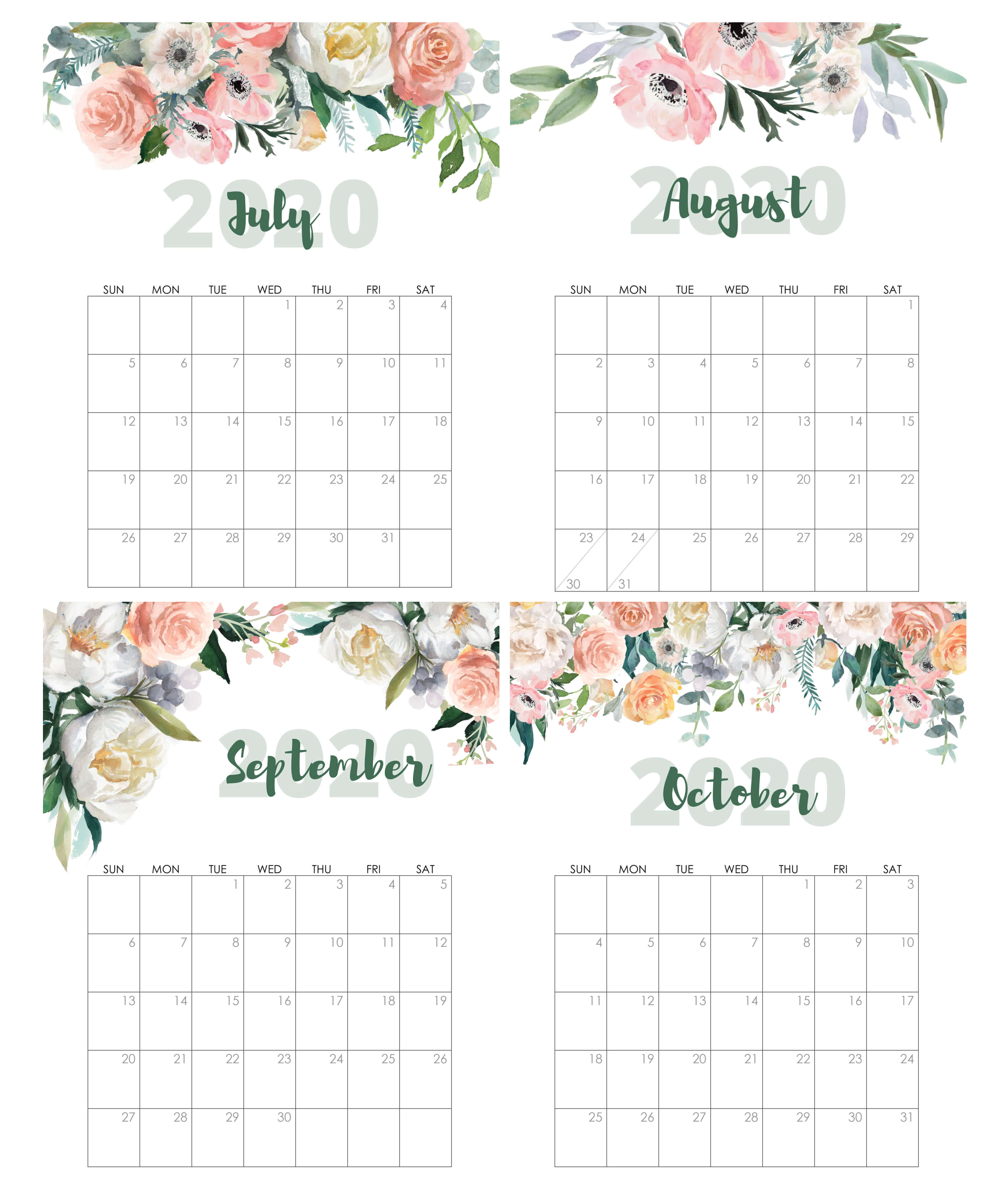July To October 2020 Calendar Cute
