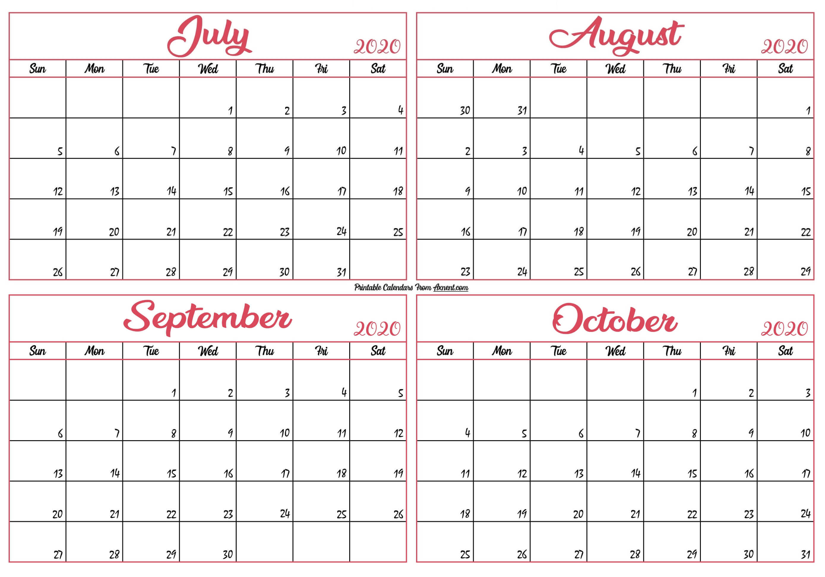 July To October 2020 Calendar Template