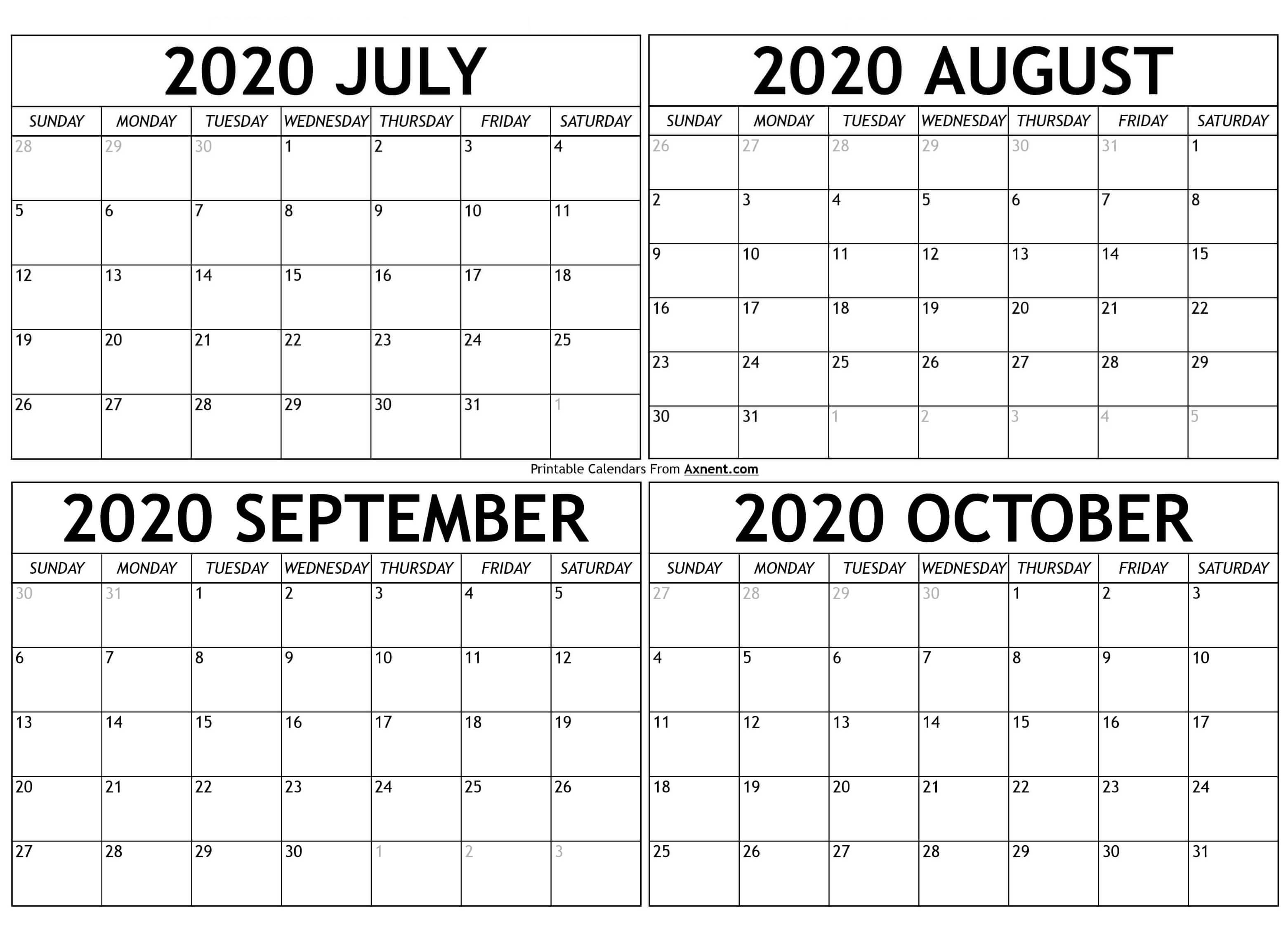 Printable July To October 2020 Calendar