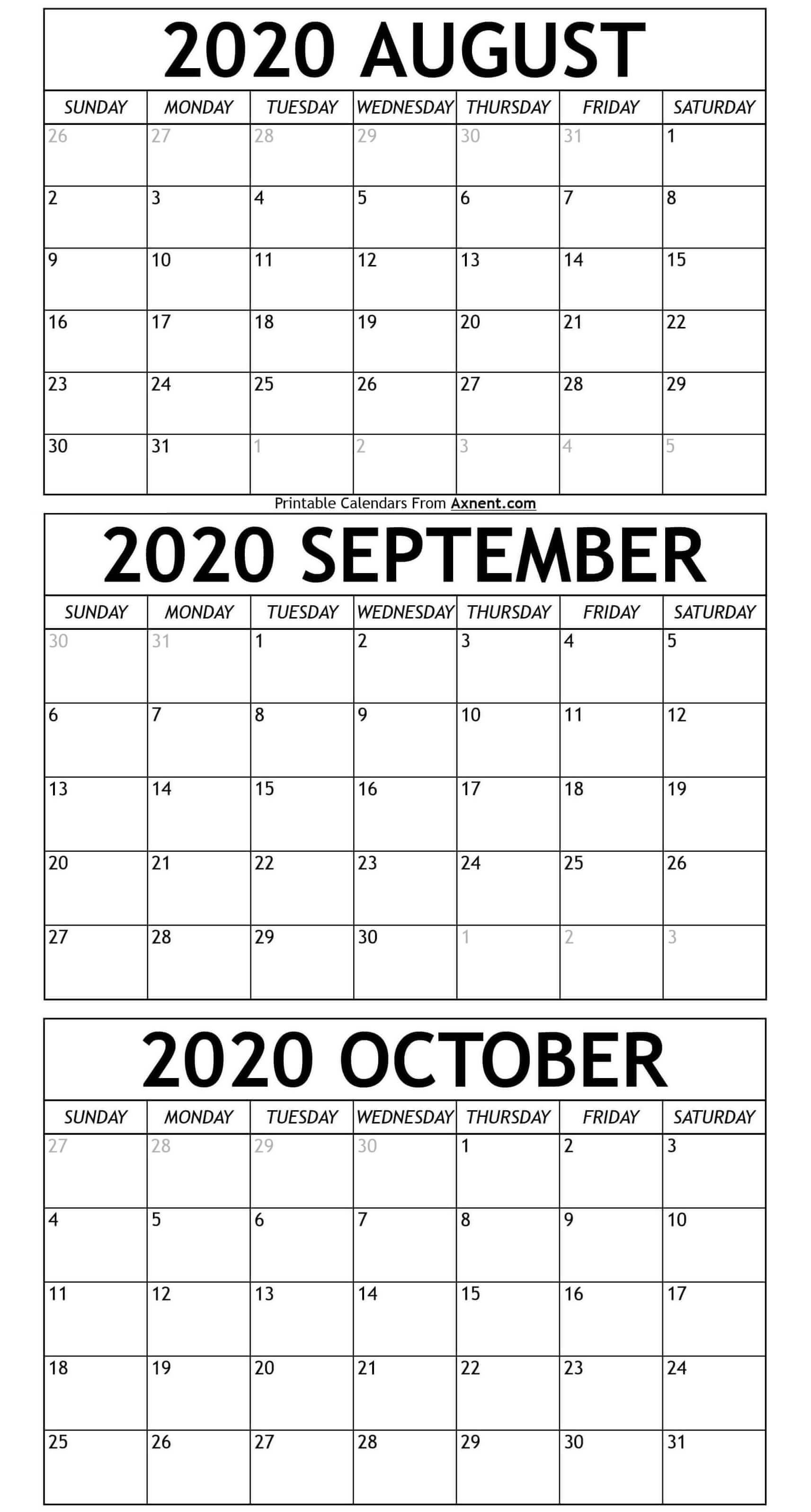 Printable August To October 2020 Calendar