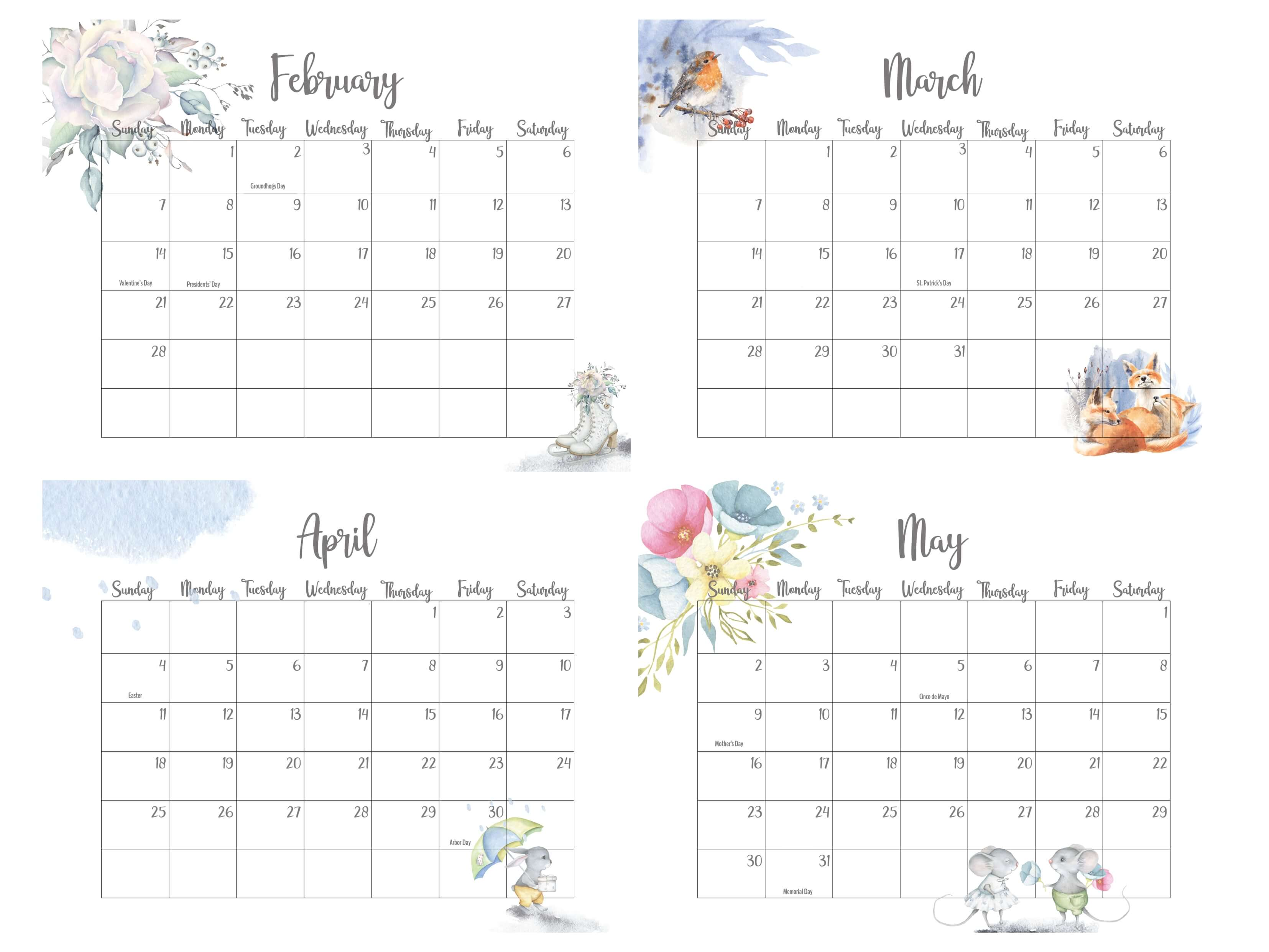 2021 February To May Calendar With Holidays