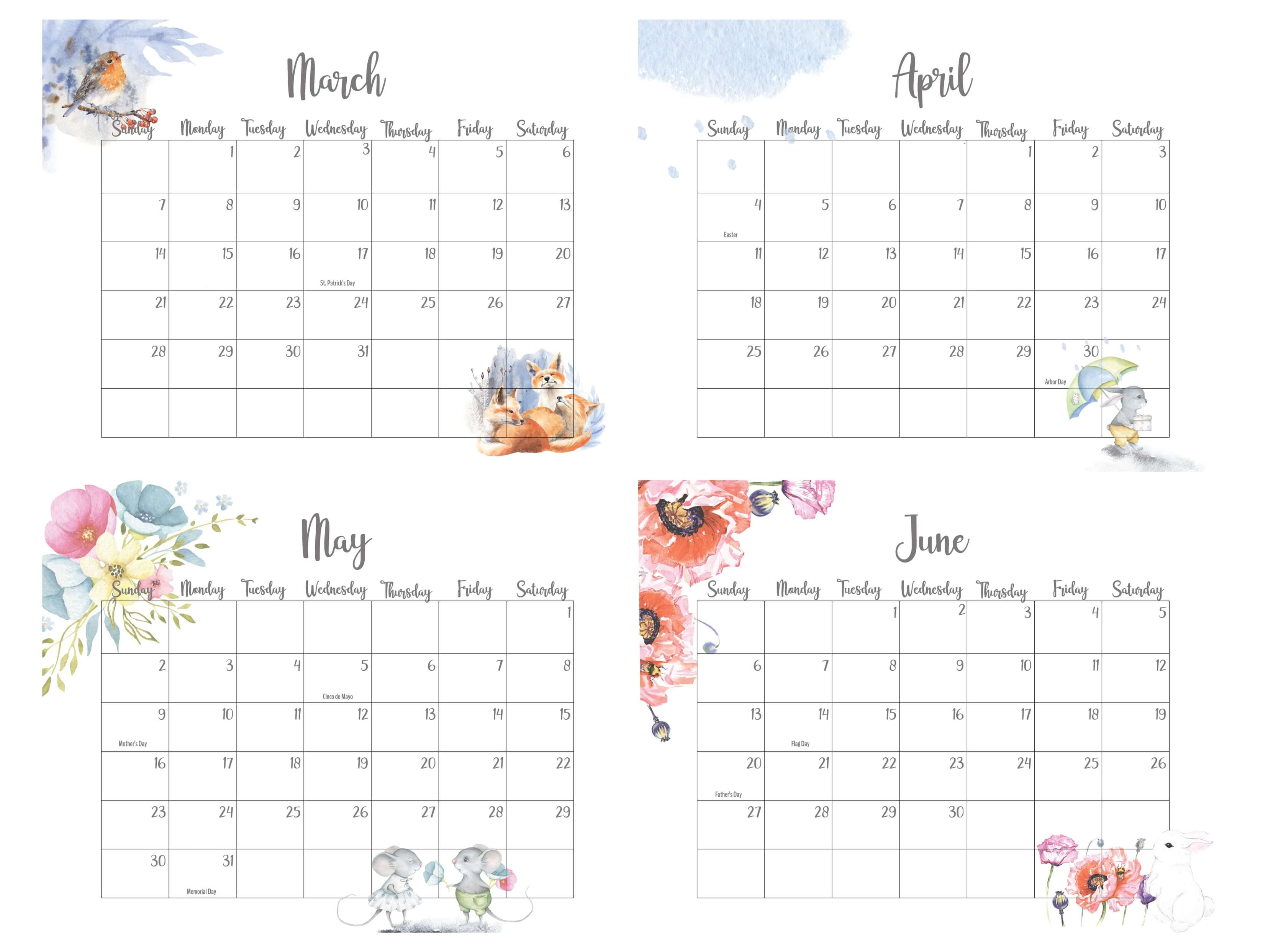 2021 March To June Calendar With Holidays