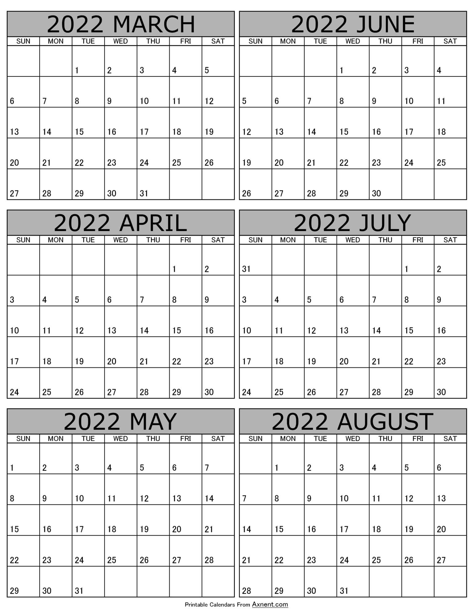 Calendar 2022 March to August