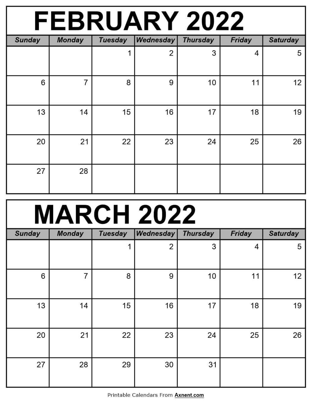 Calendar February and March 2022