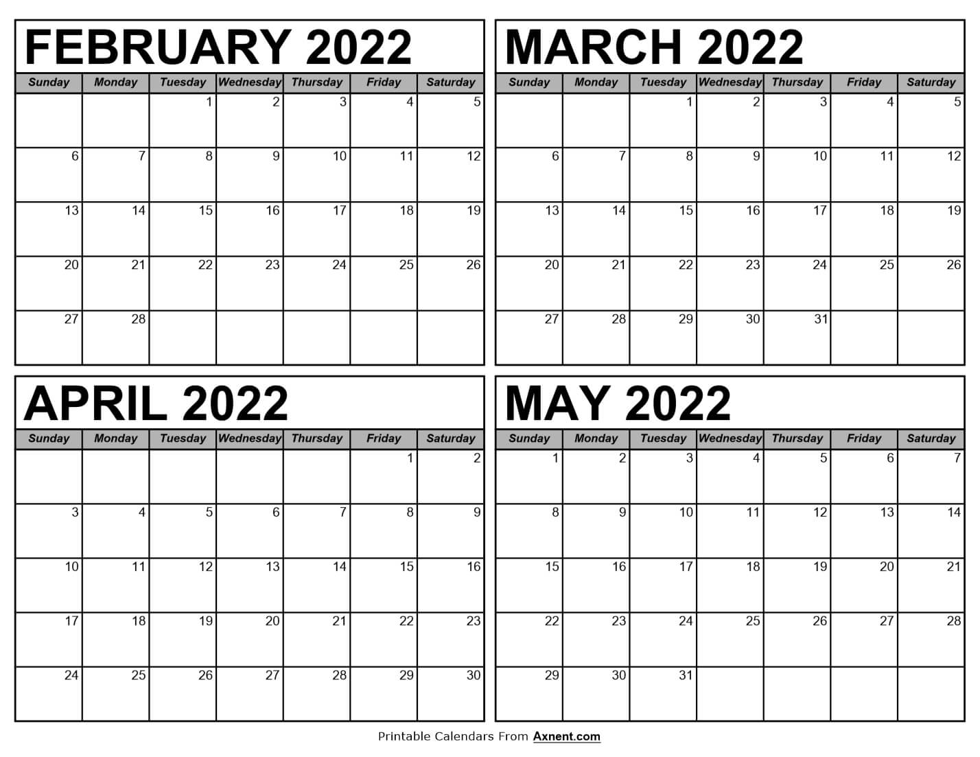 Calendar February to May 2022