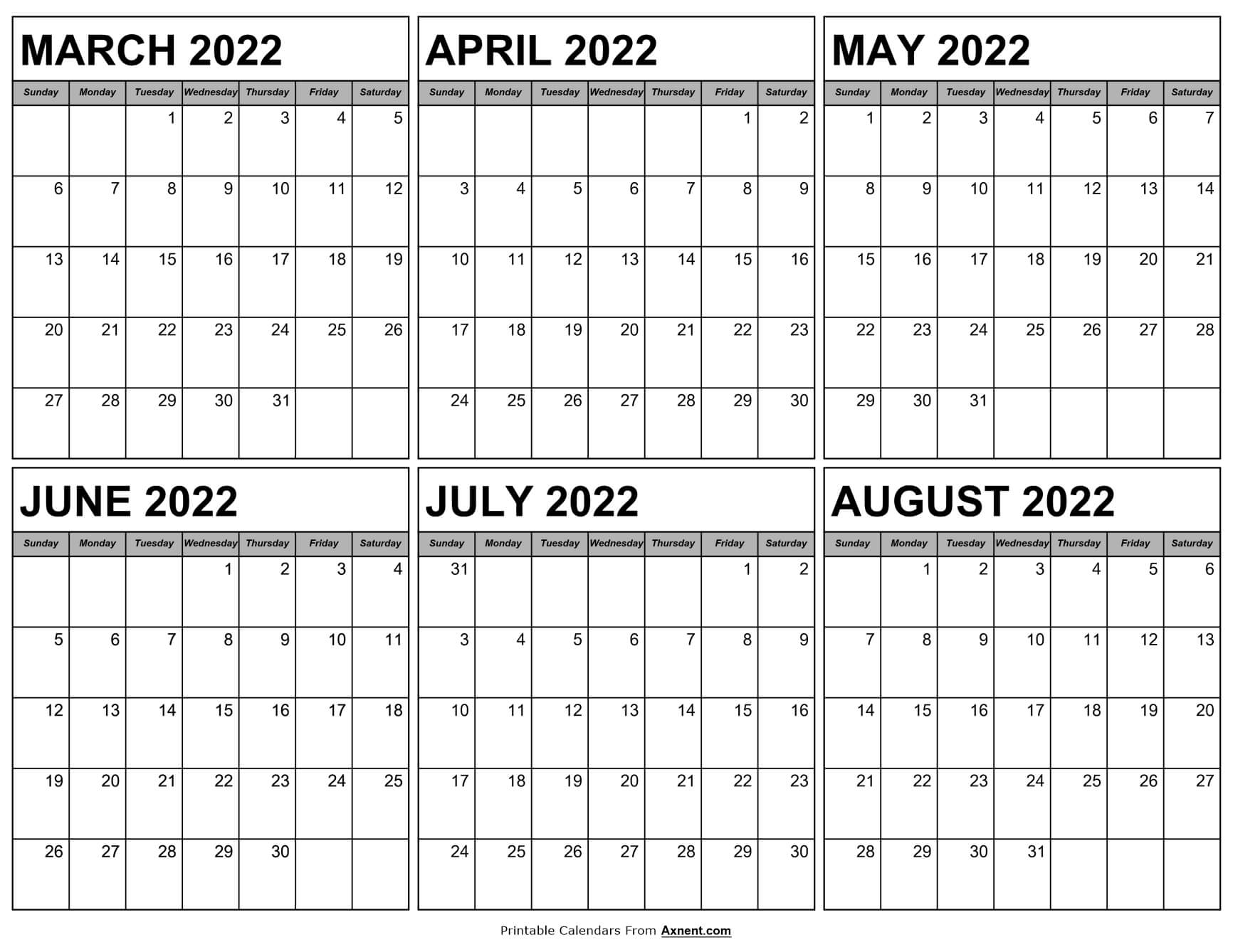 Calendar March to August 2022