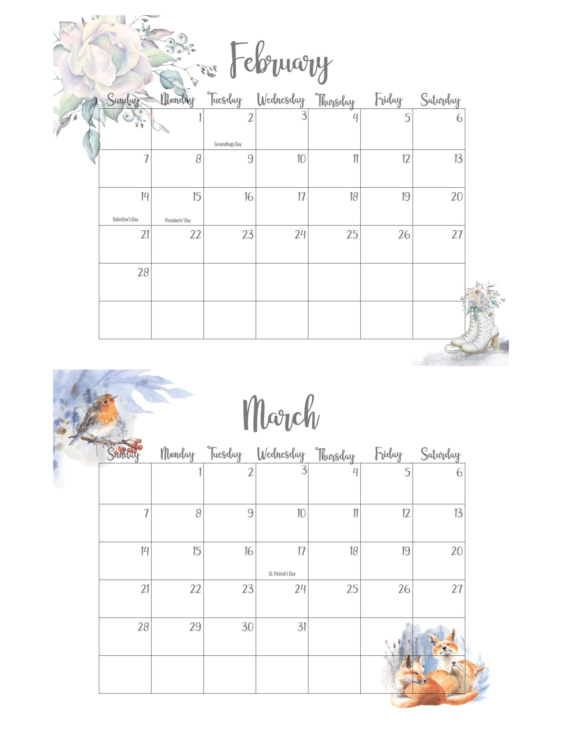 February March 2021 Calendar With Holidays