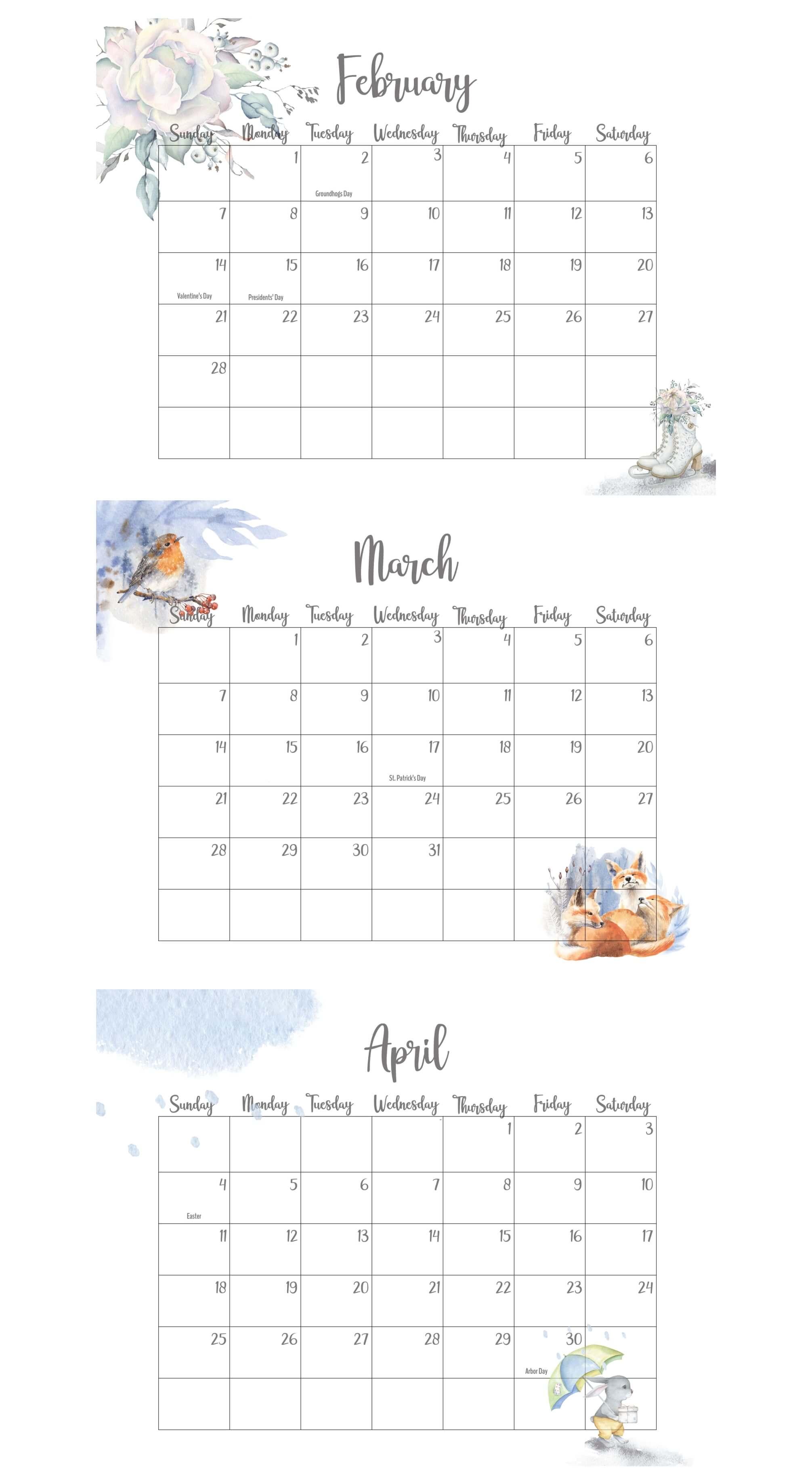 February March April 2021 Calendar With Holidays