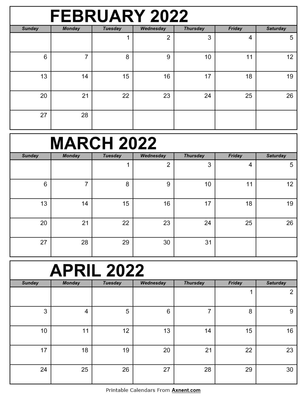 February March and April Calendar 2022