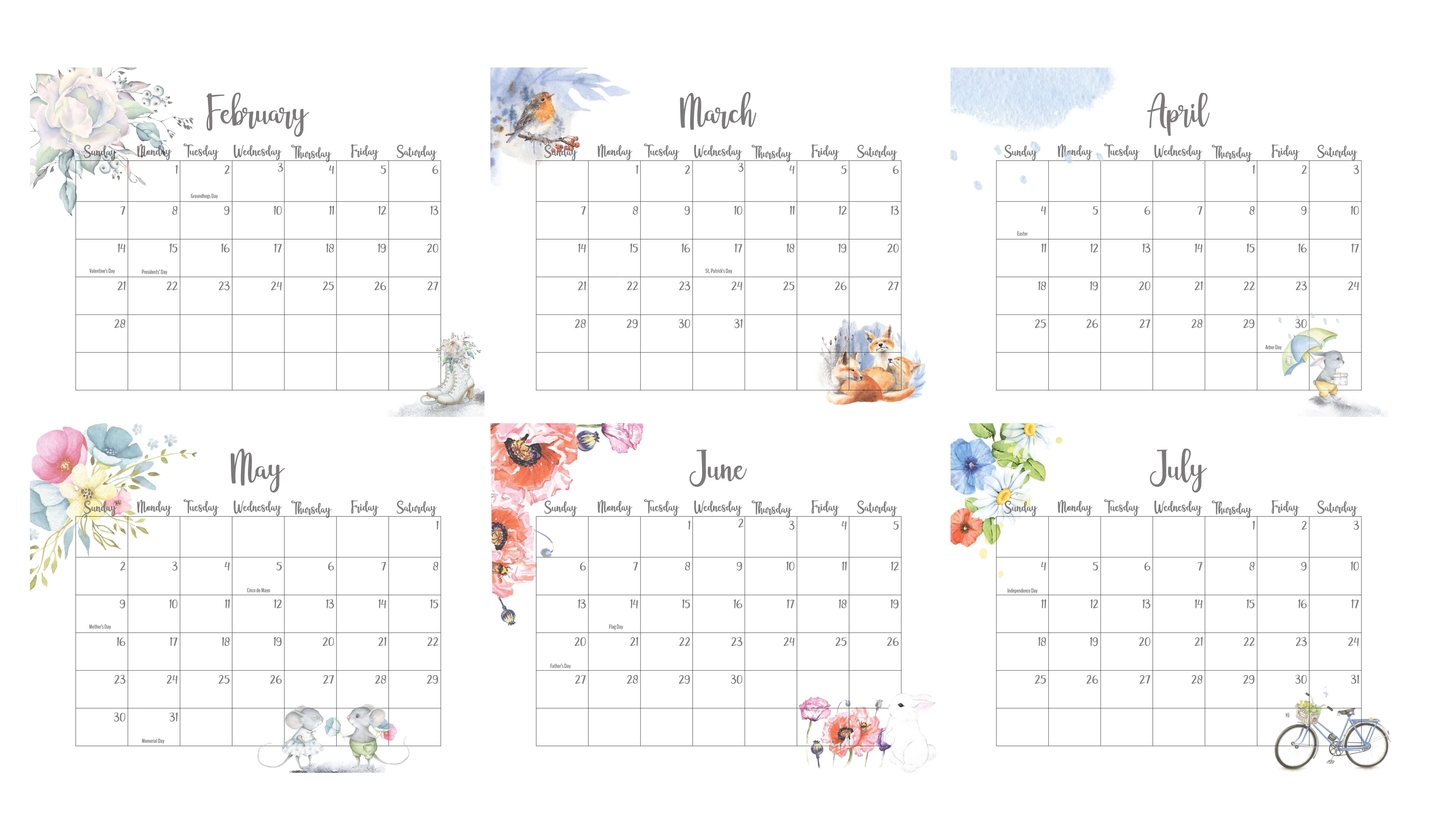 February To July 2021 Calendar With Holidays