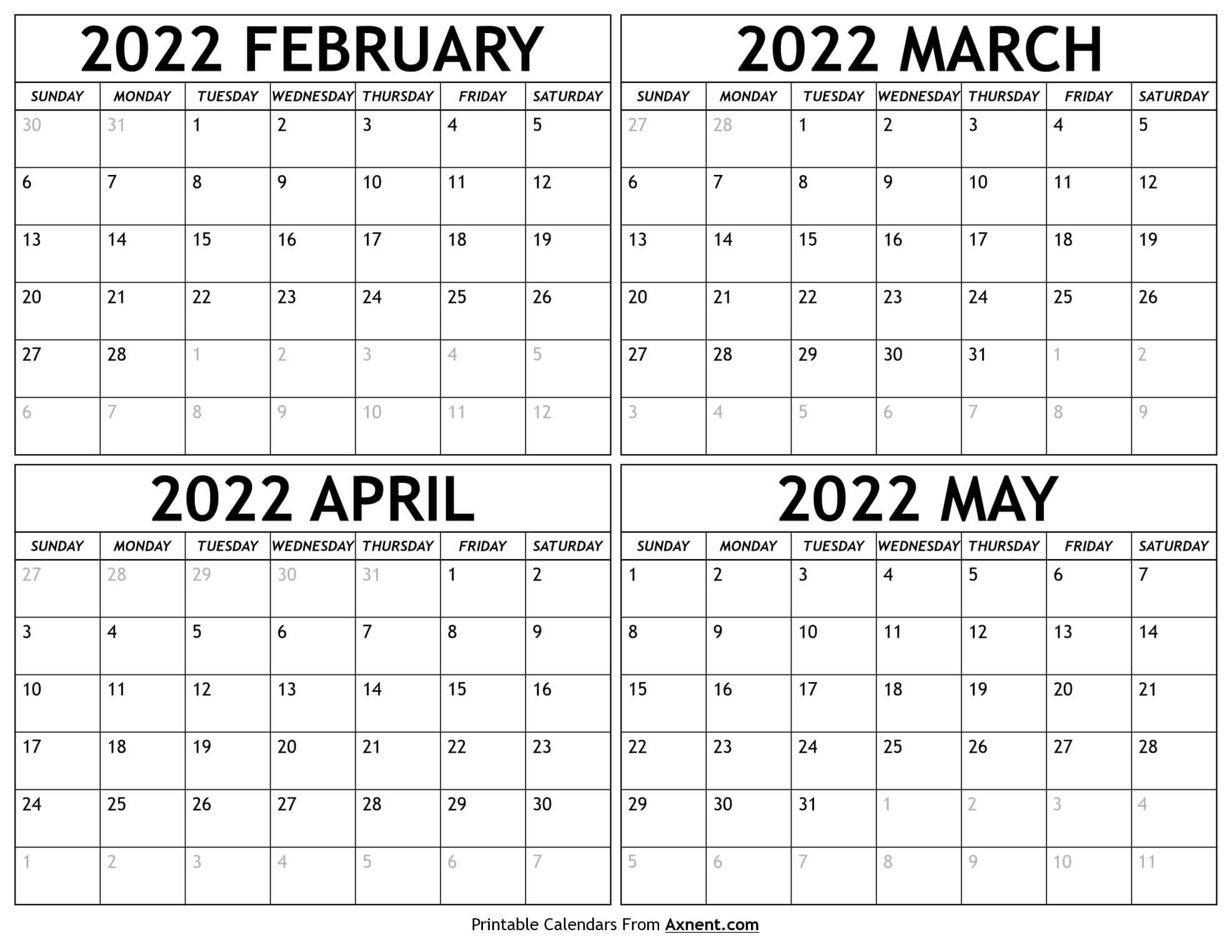 February to May 2022 Calendar